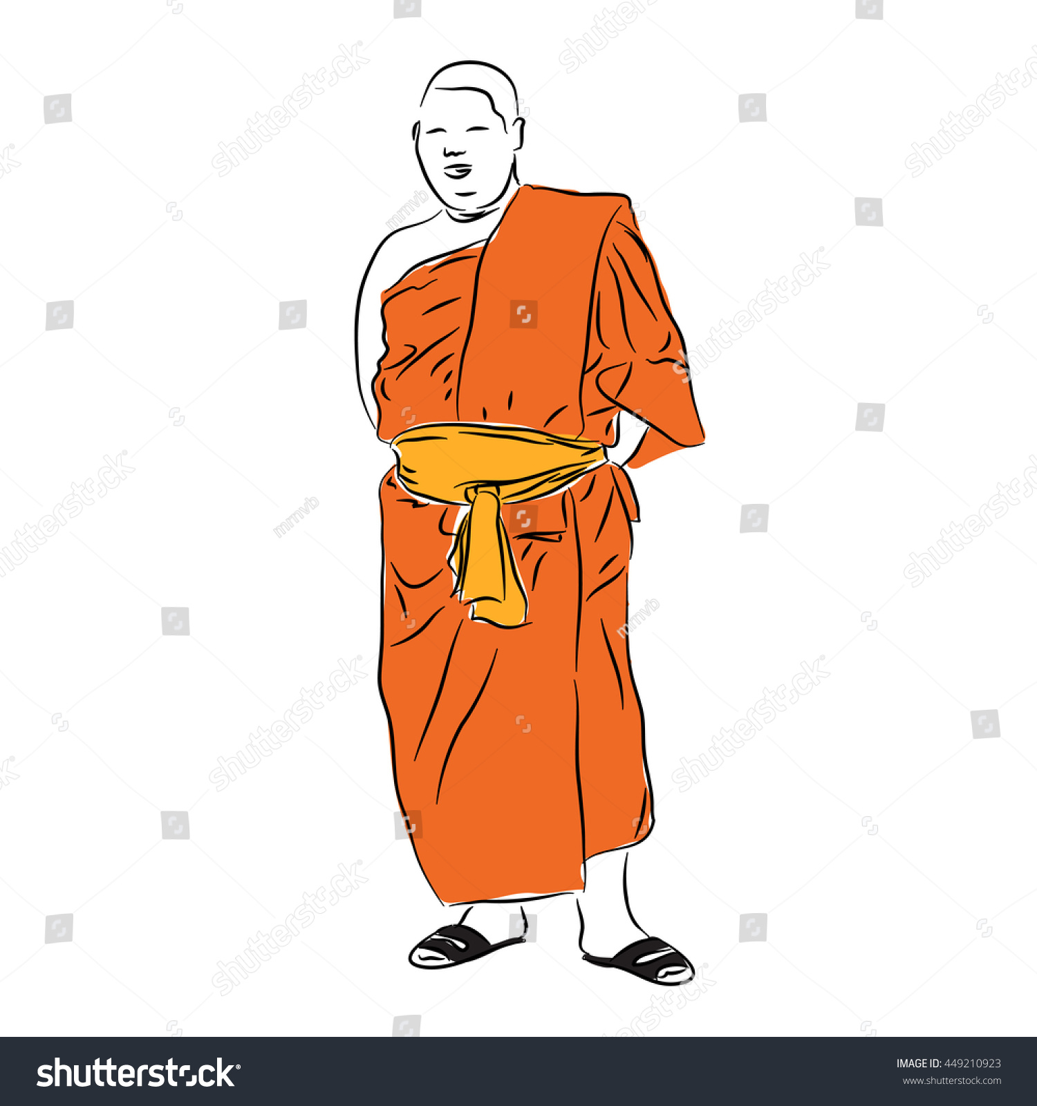 Buddhist Monk Vector Freehand Drawing Sketch Stock Photo Photo