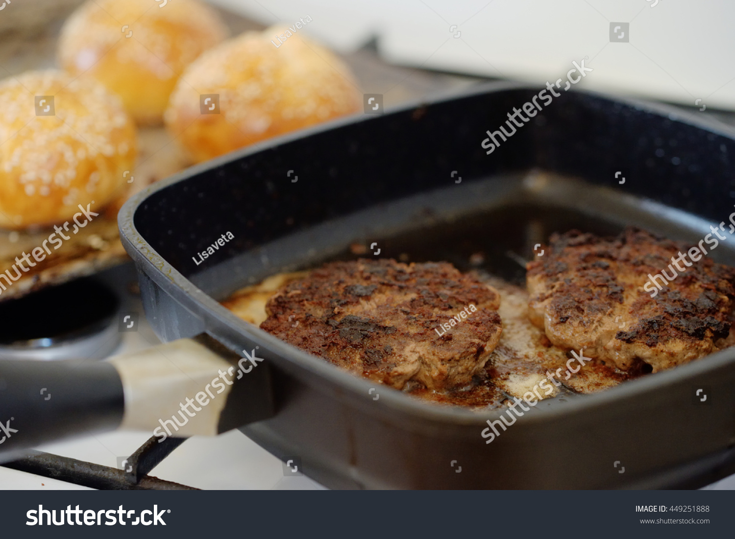 Hamburger Patties Fried Grill Pan Stock Photo Edit Now 449251888