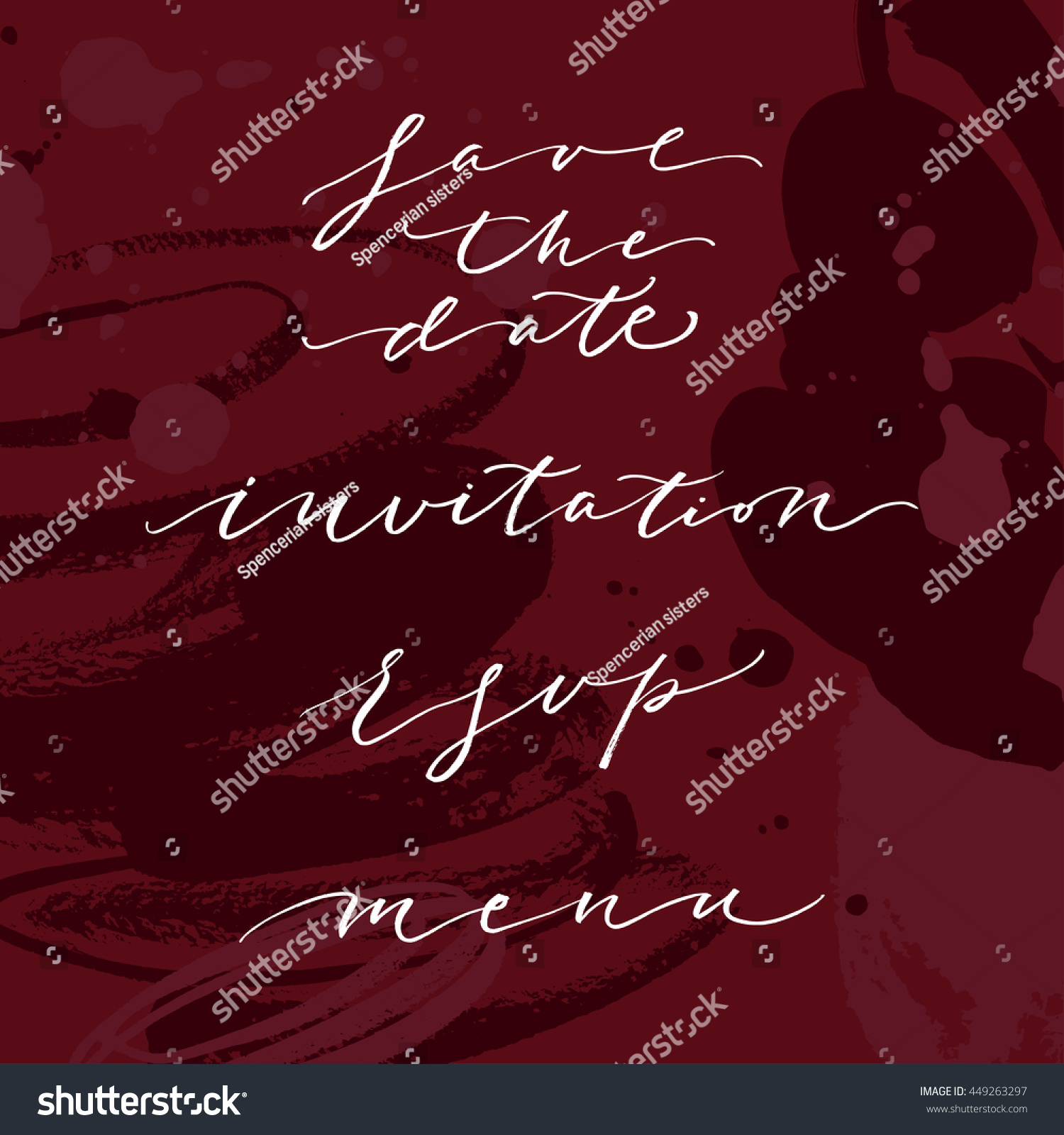 Wedding Save Date Invitation Phrases Words Stock Vector 449263297 ...