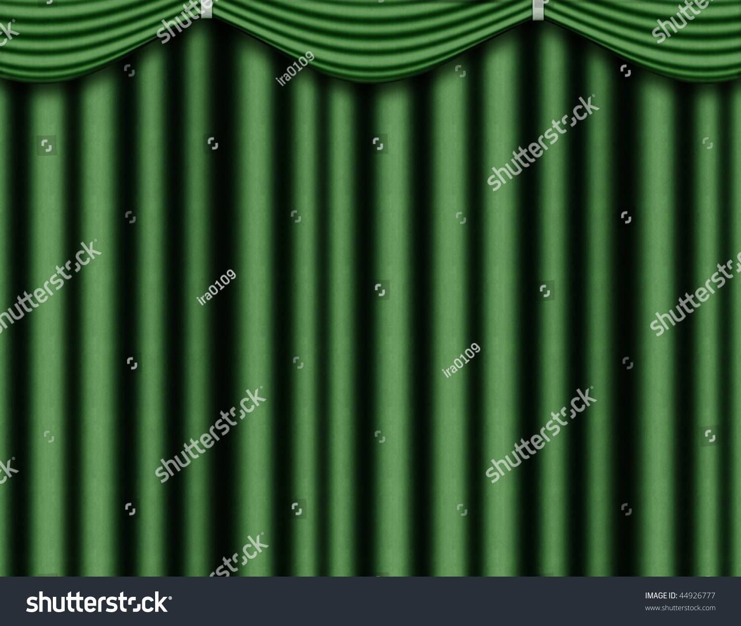 Green stage curtains - Green Curtain Of Coarse Cloth With Pelmet