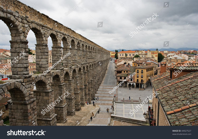 roman aqueduct segovia spain towering amazing stock photo 44927527