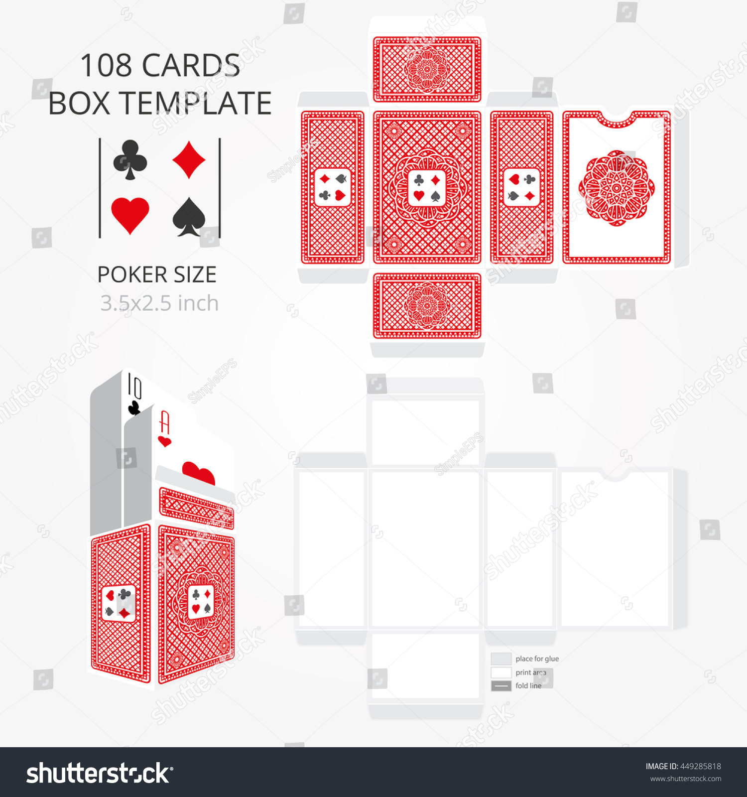 Poker Card Size Tuck Box Template Vector Stock Vector Royalty Free