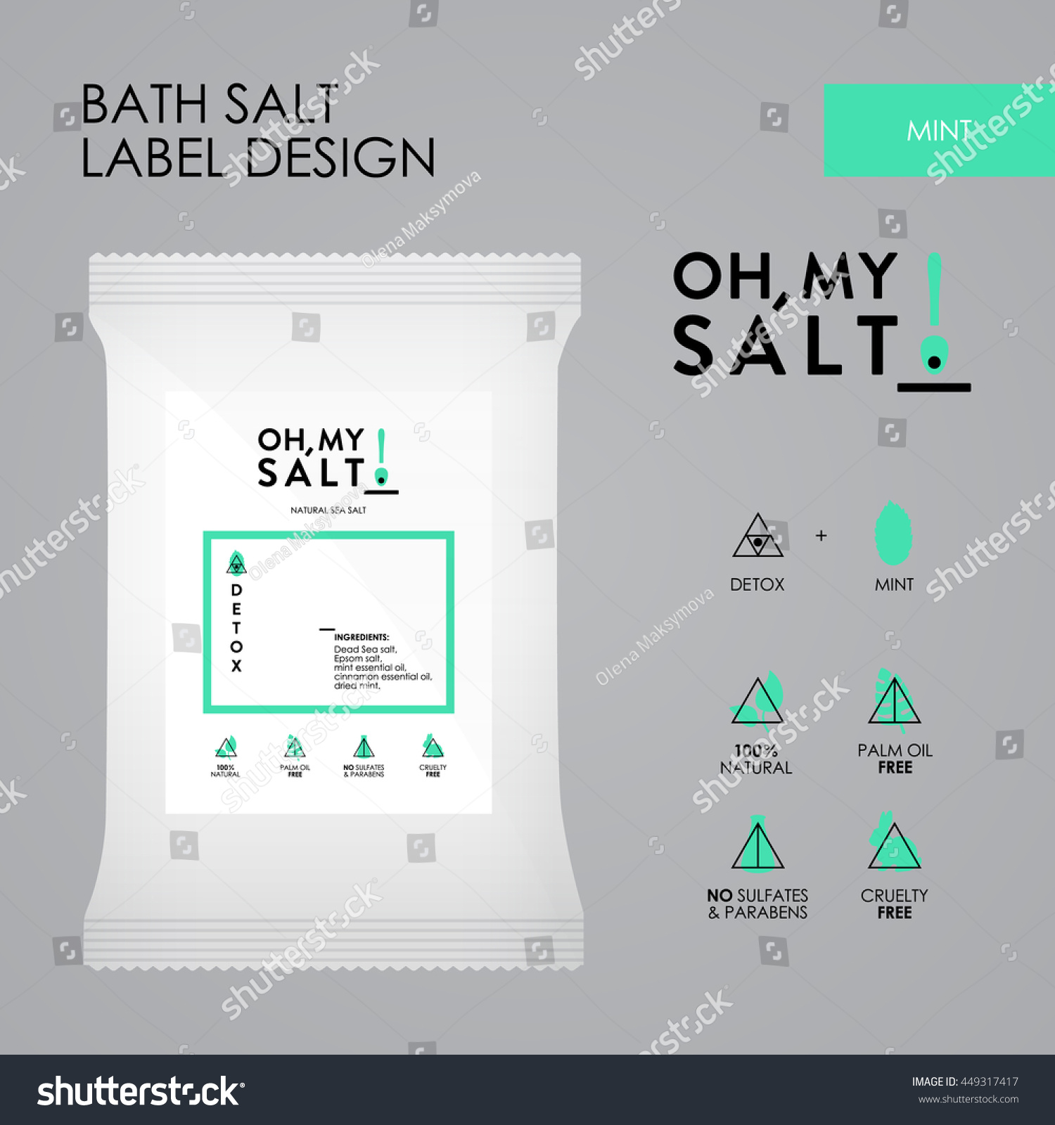 Mint Bath Sea Salt Label Vector Stock Vector Royalty Free 449317417