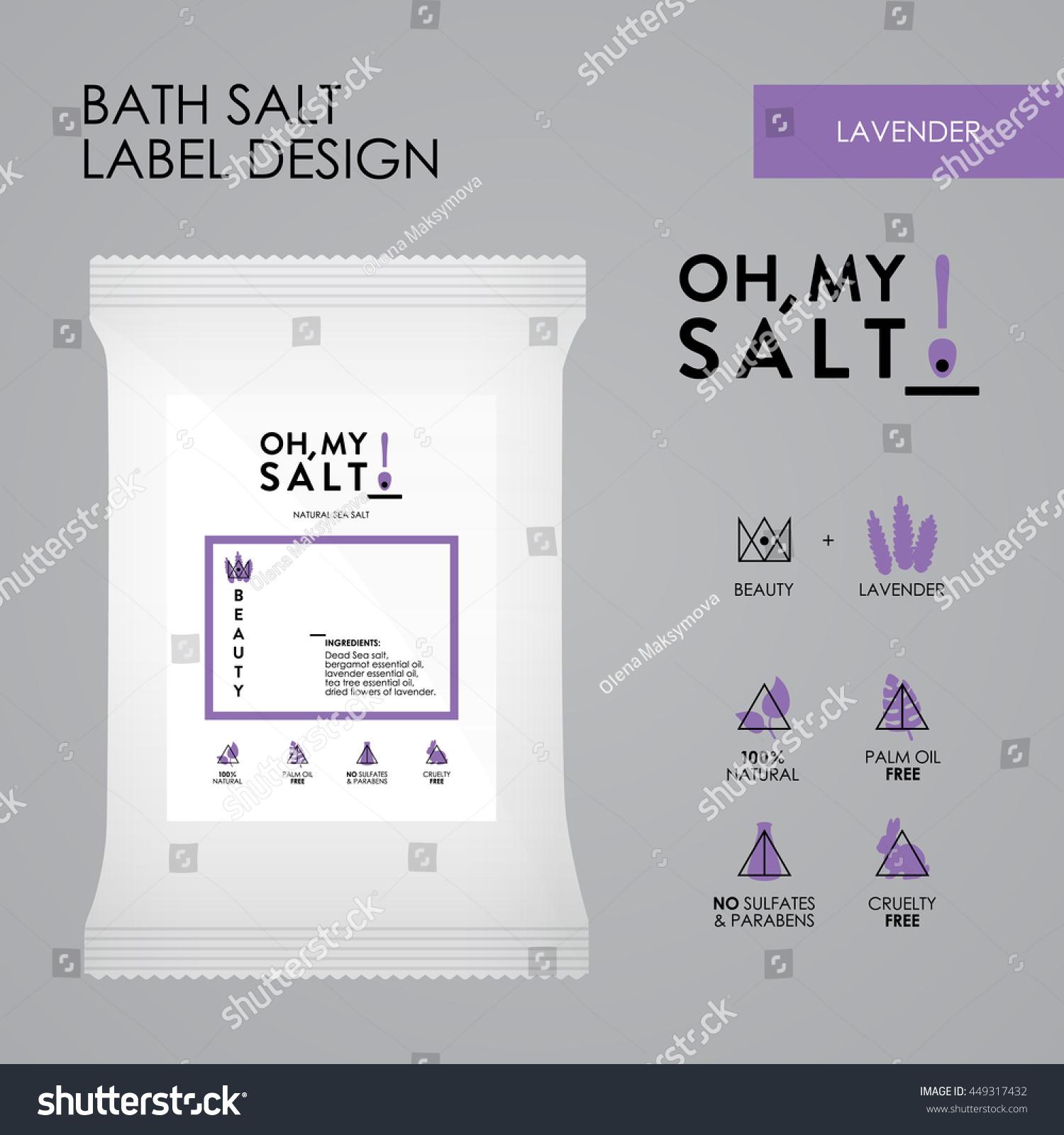 Lavender Bath Sea Salt Label Vector Vector 449317432 – Ingredient Label Template