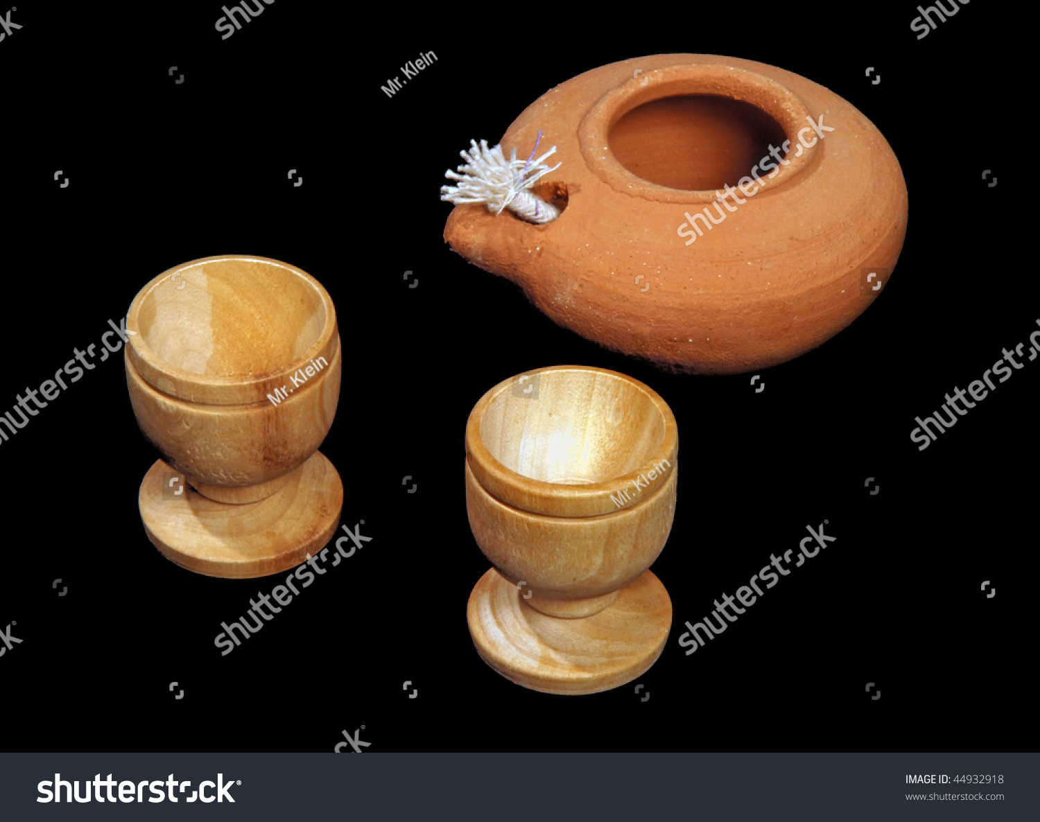 Oil Lamp Two Small Wooden Cups Stock Photo Edit Now 44932918
