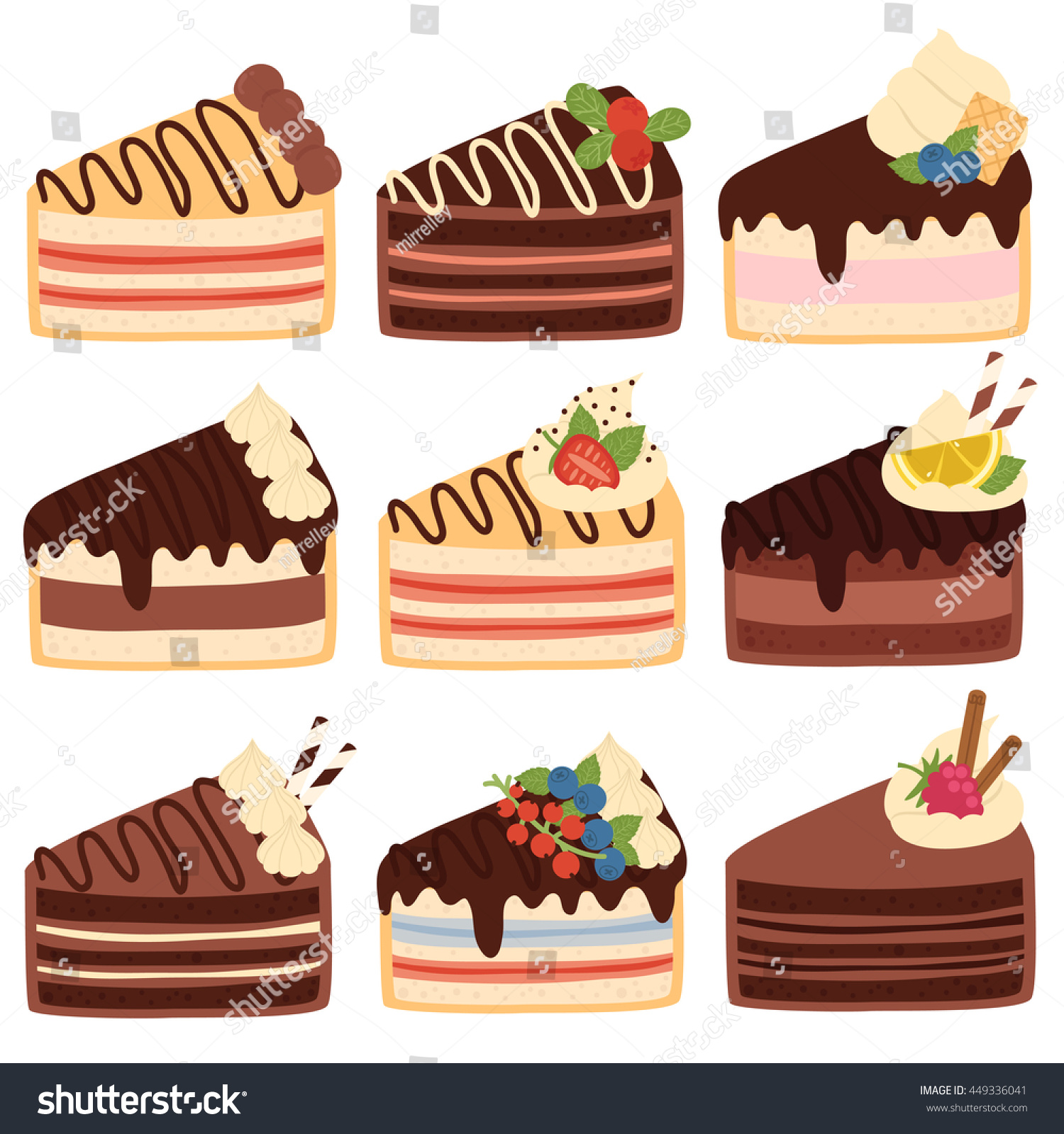 big set nine cute slices cake stock photo photo vector