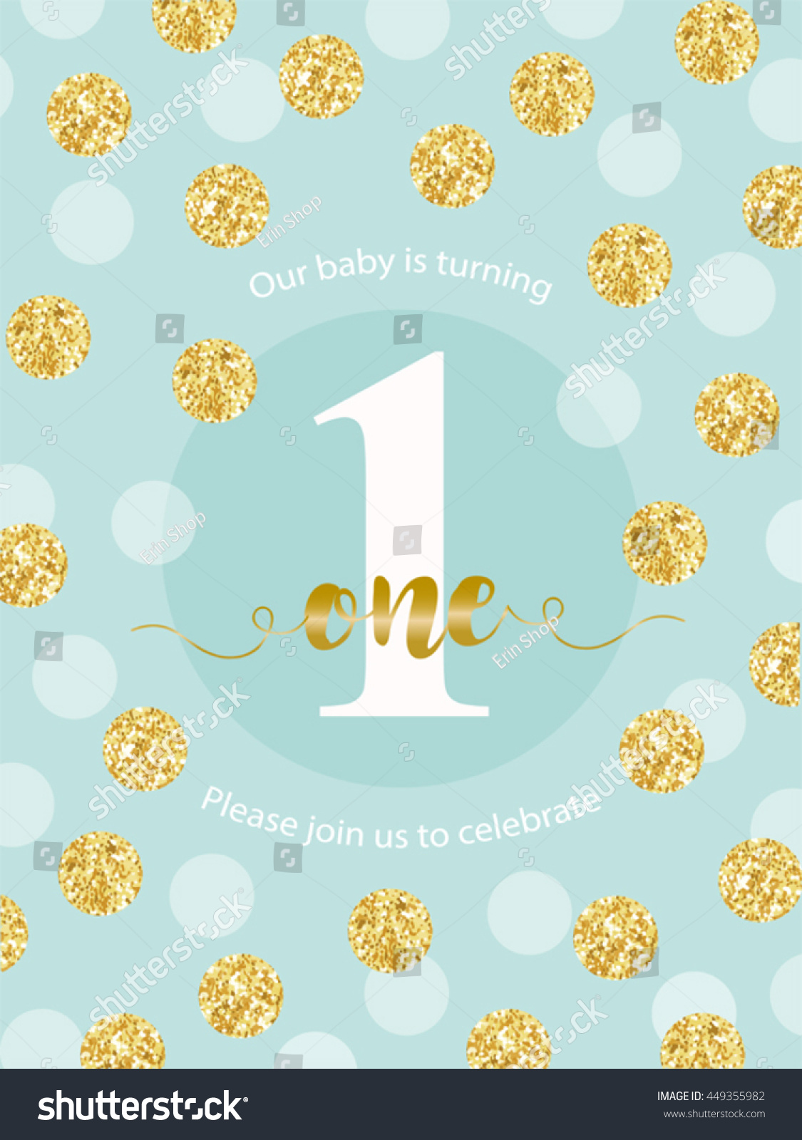 Cute baby first birthday card golden stock vector 449355982 cute baby first birthday card with golden glitter confetti for your decoration bookmarktalkfo Choice Image