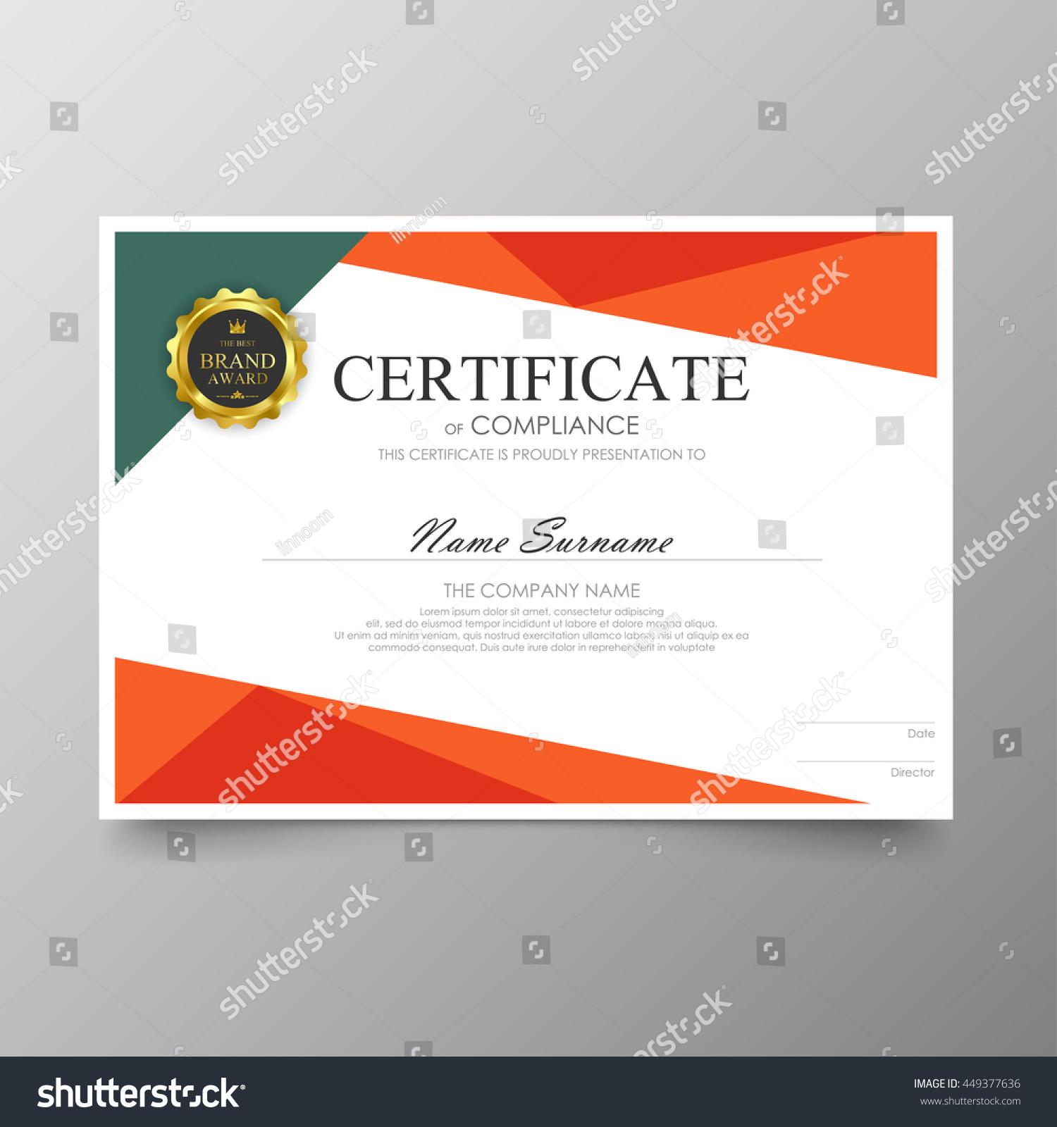 Orange green certificate template awards diploma stock vector orange and green certificate template awards diploma background vector modern value design and luxurious elegant alramifo Images