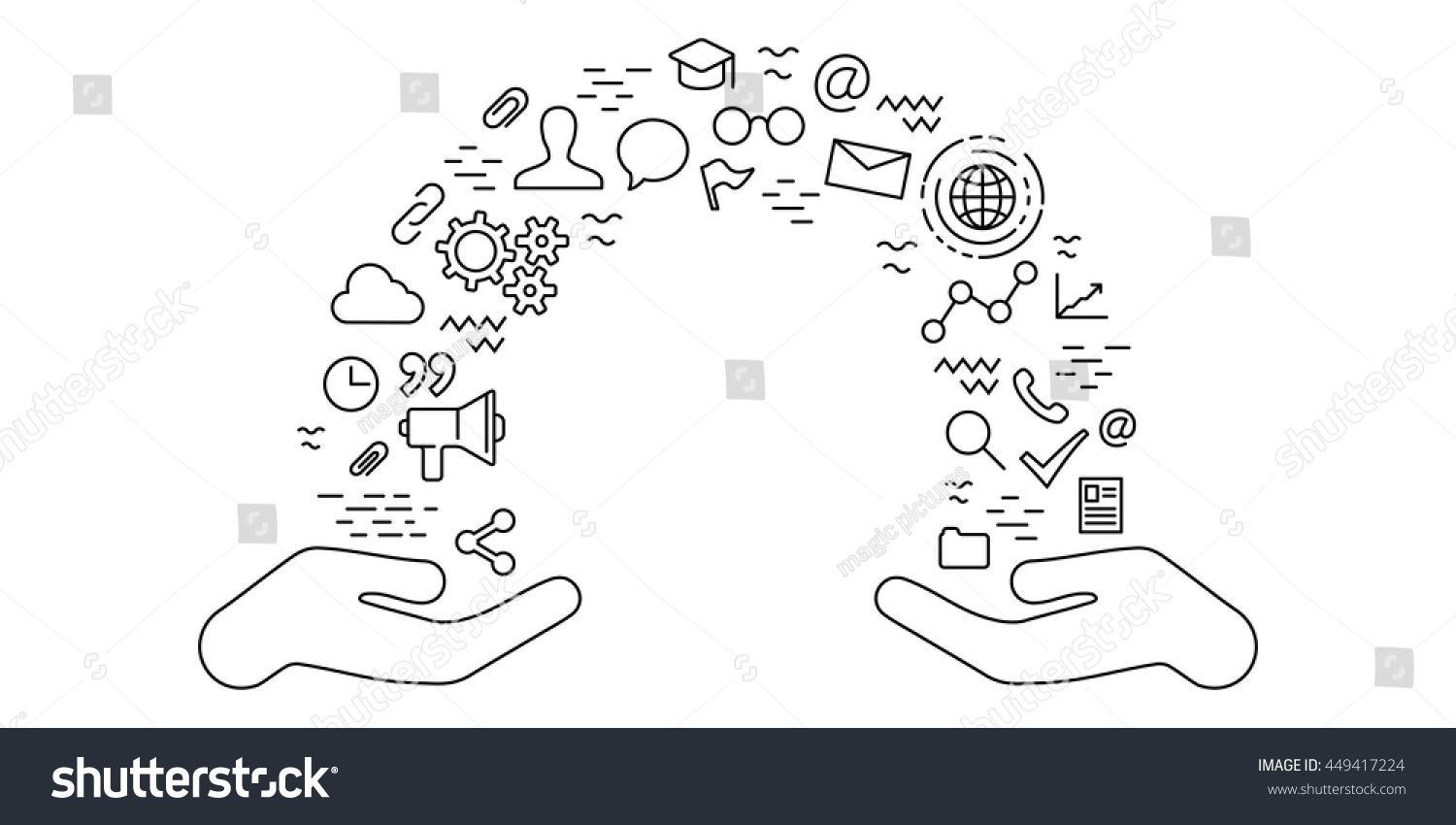 Thin line flat design knowledge exchange stock vector 449417224 thin line flat design for knowledge exchange concept with two hands and flow of education symbols biocorpaavc Image collections