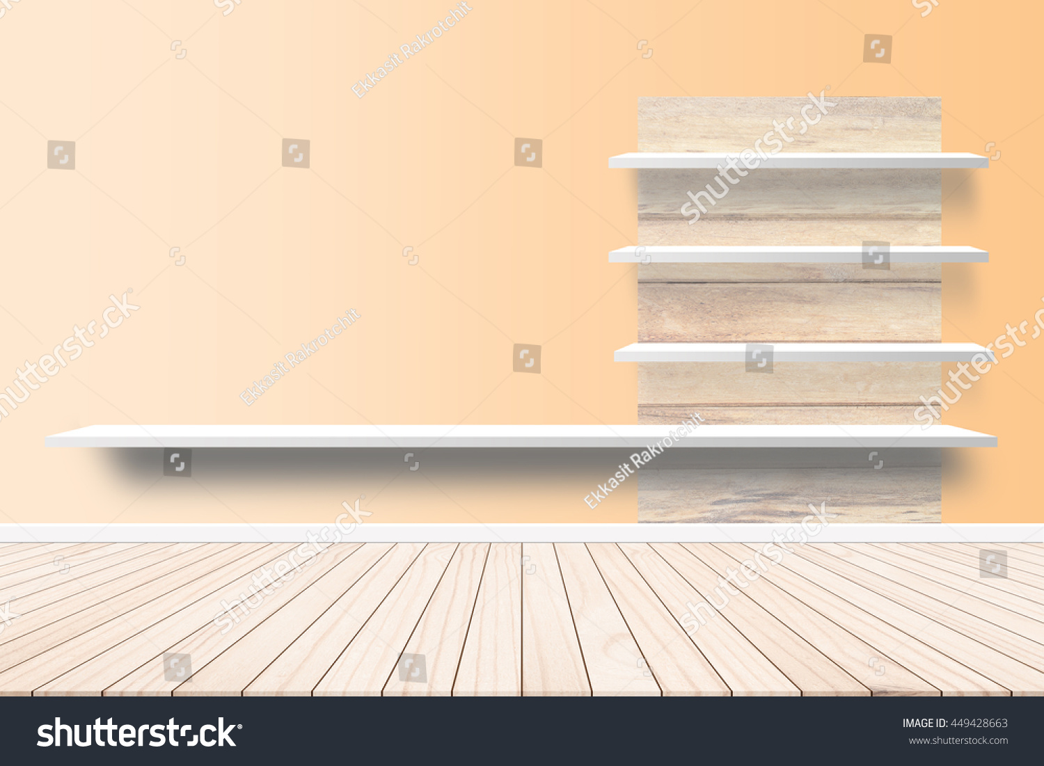 Wood Terrace Background Cement Wall Shelf Stock Photo (Royalty Free ...