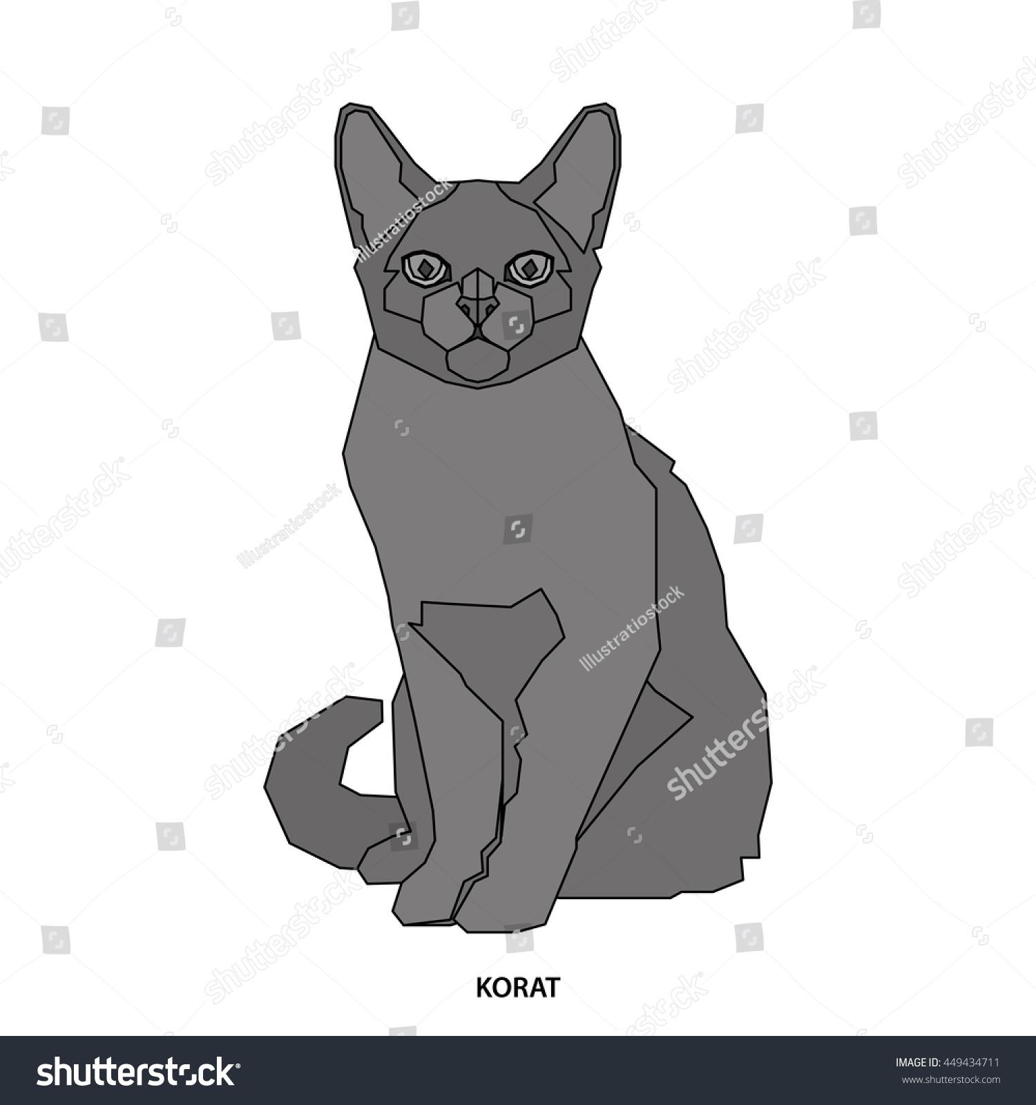 Korat Isolated Cat Breed Vector Illustration Stock Vector