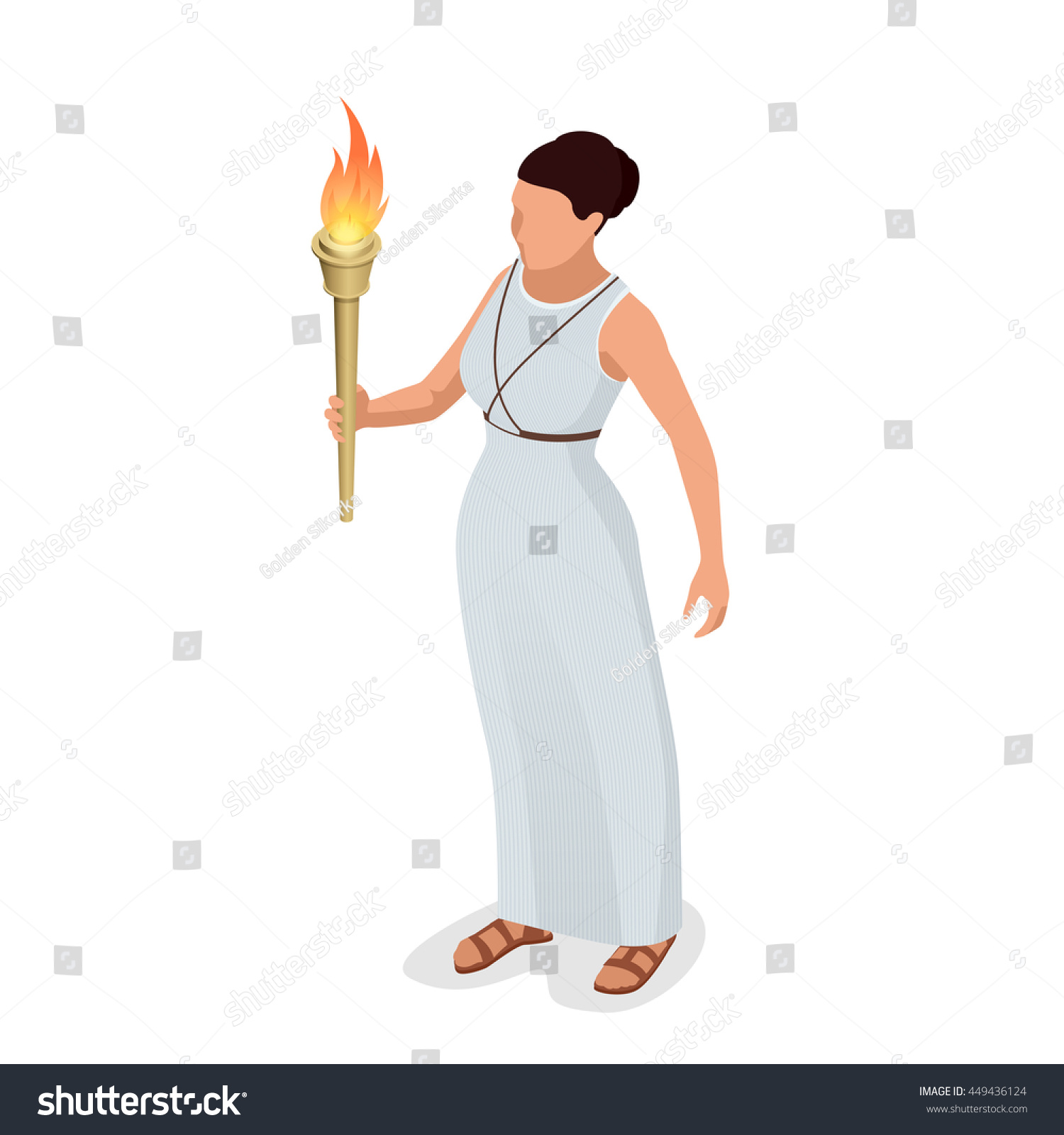 greek woman torch her hand woman stock illustration 449436124