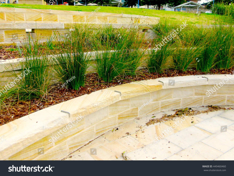 Hard Landscaping Sandstone Terraces Retaining Wall Stock Photo
