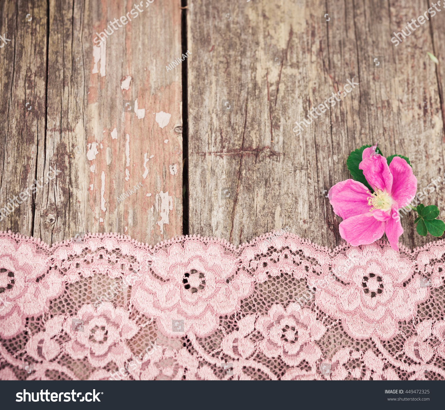 Pink Flower Lace On Rustic Old Stock Photo Edit Now 449472325