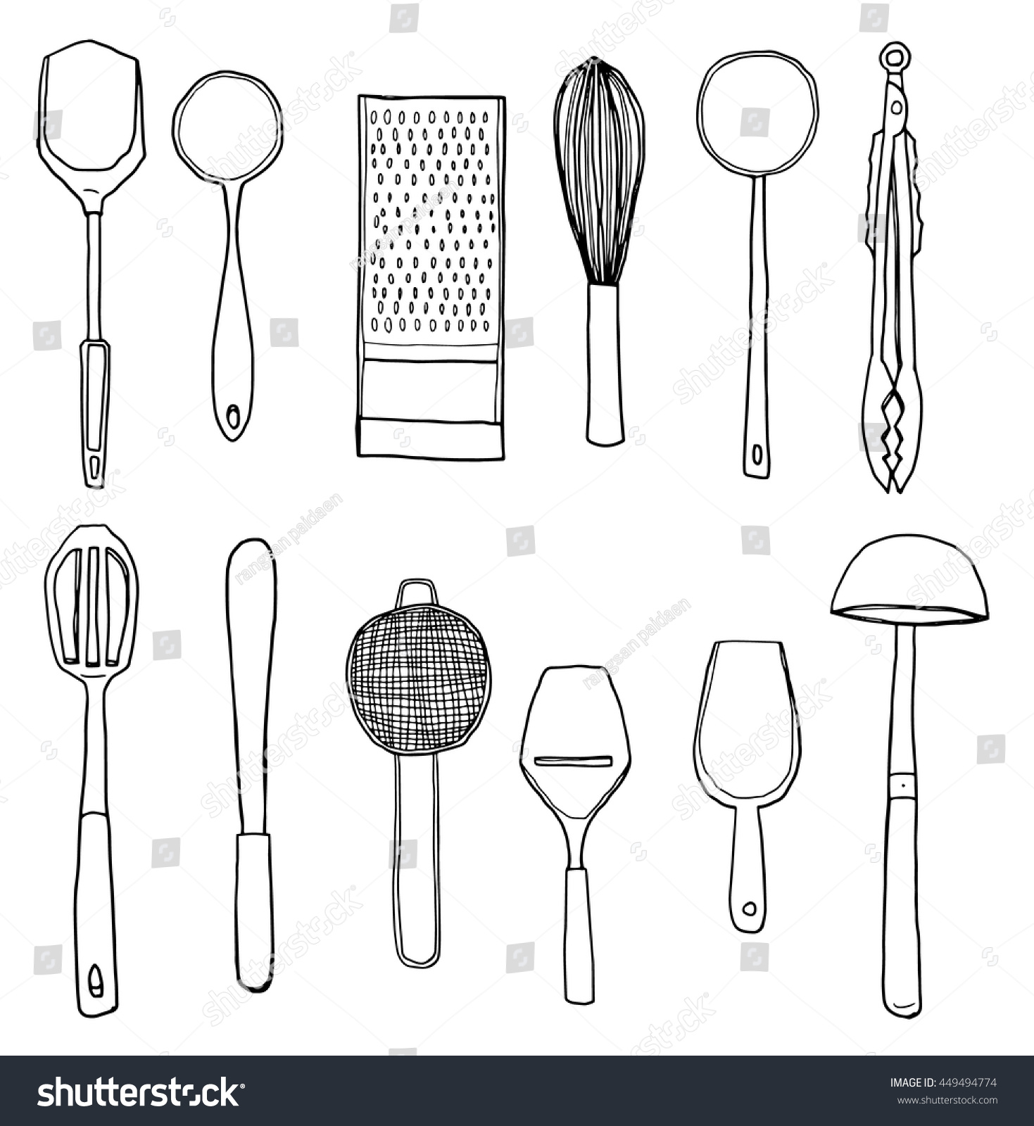 Kitchen Utensils Art vector kitchen utensils hand drawn cute stock vector 449494774