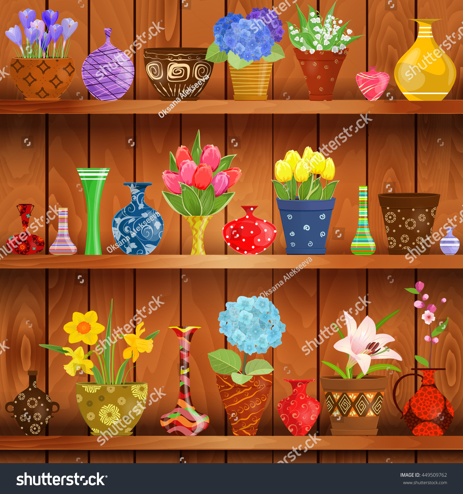 Interior wooden shelves free vector - Rustic Interior With Glass Vases And Flowers Planted In Cute Ceramic Pots On Wooden Shelves