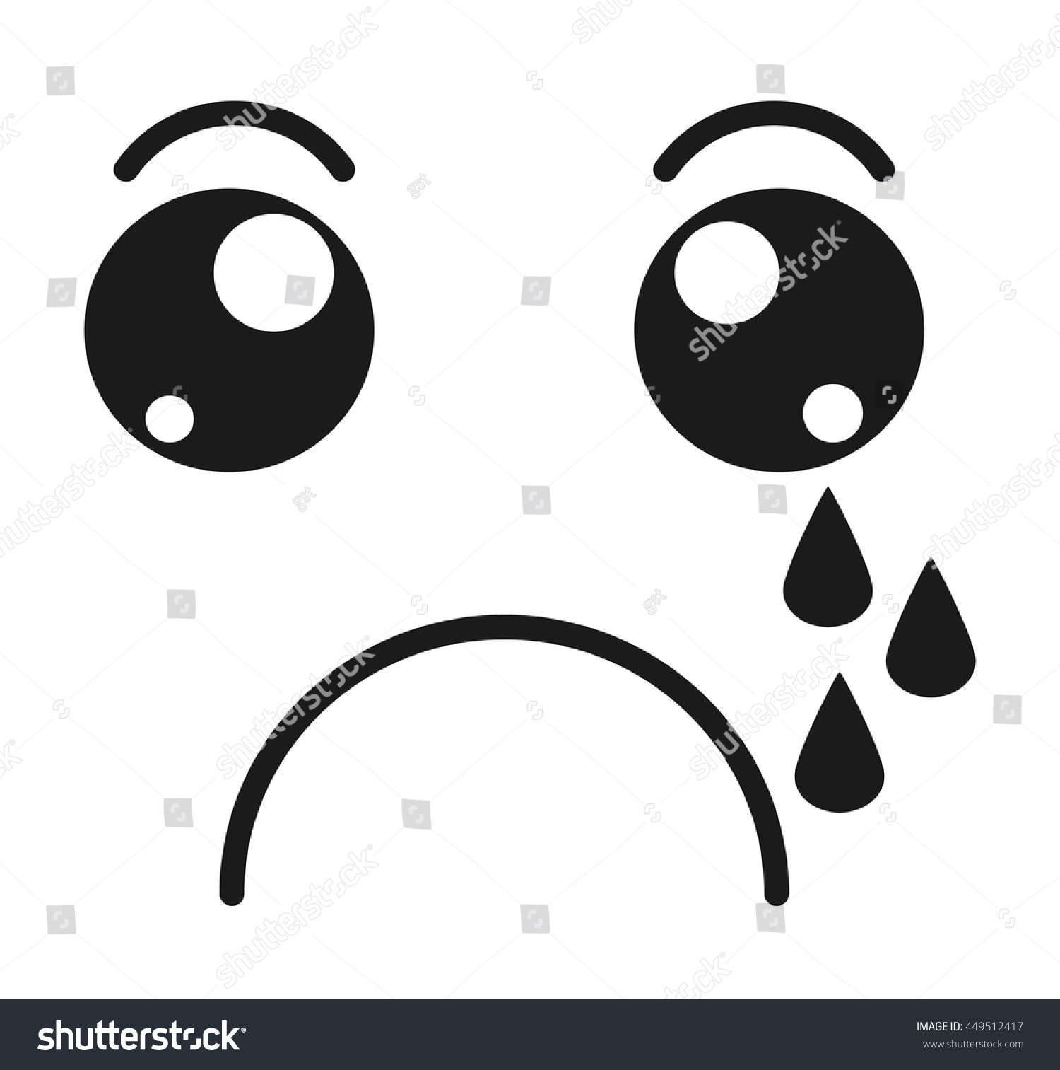 Crying Face Emoticon Isolated Icon Design Stock Vector Royalty Free