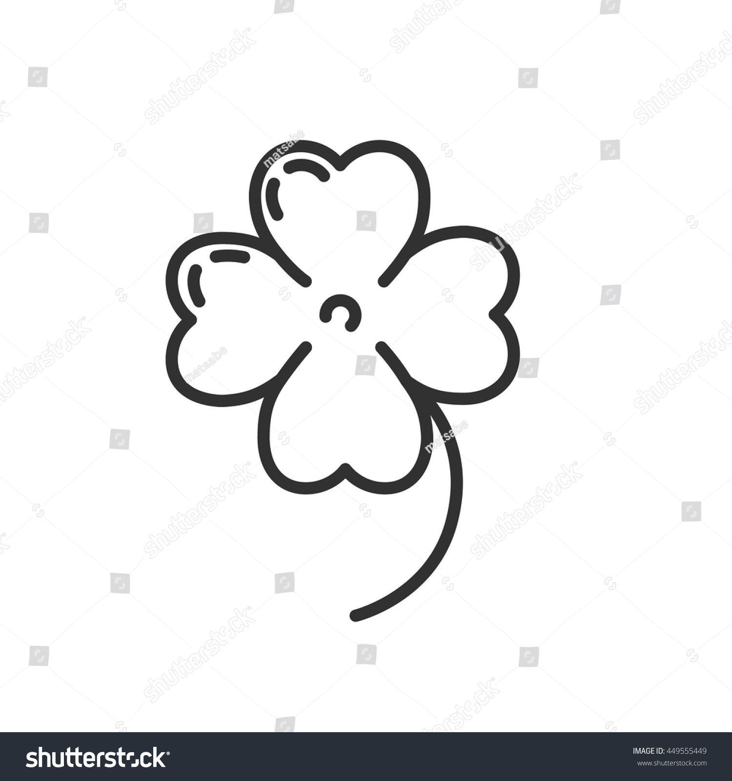 fourleaf clover icon thin line design stock vector 449555449