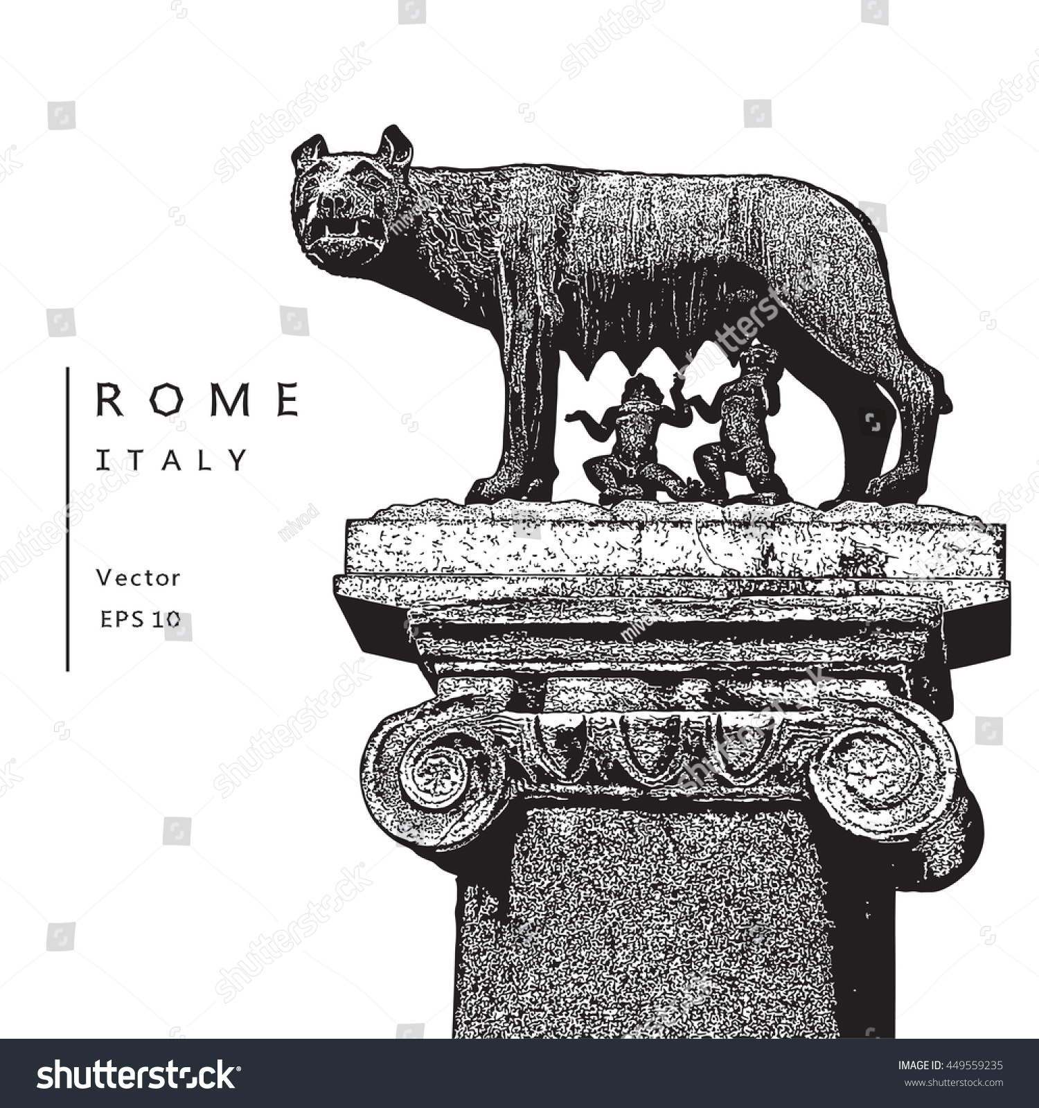 Capitoline Wolf Romulus Remus Symbol Rome Stock Vector Royalty Free
