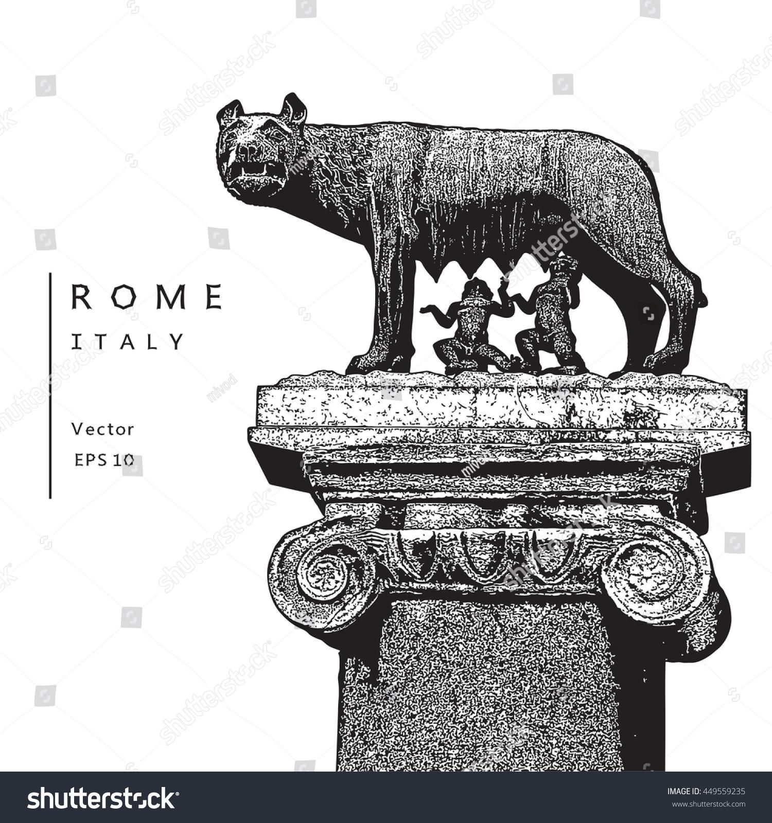 Capitoline wolf romulus remus symbol rome stock vector 449559235 capitoline wolf with romulus and remus symbol of rome italy vector illustration biocorpaavc