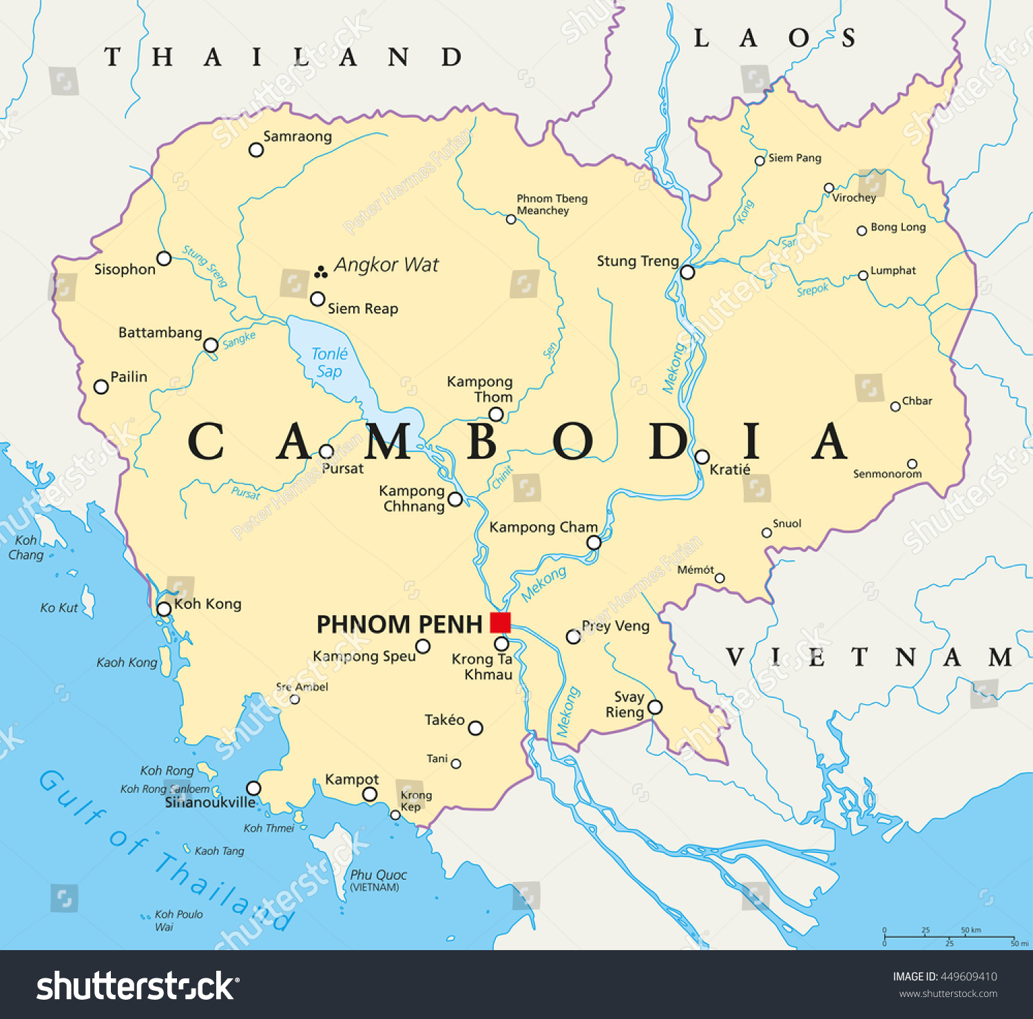 Cambodia political map capital phnom penh vectores en stock cambodia political map with capital phnom penh national borders important cities rivers and gumiabroncs Images