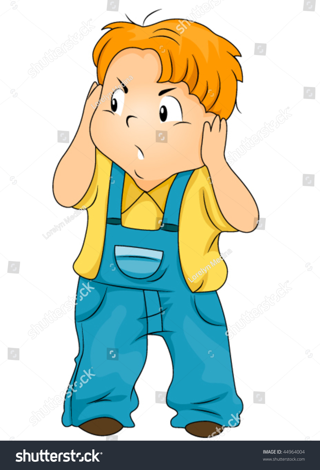 annoyed child covering his ears vector 44964004