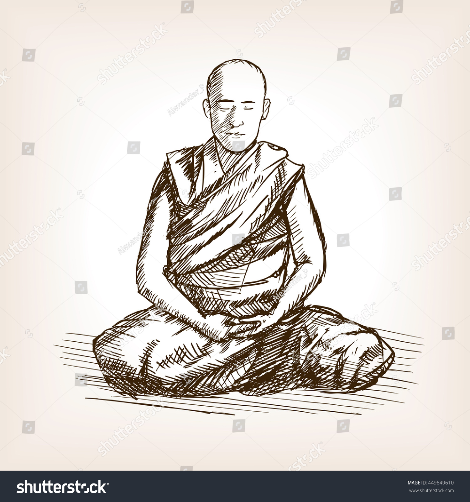 how to draw a monk