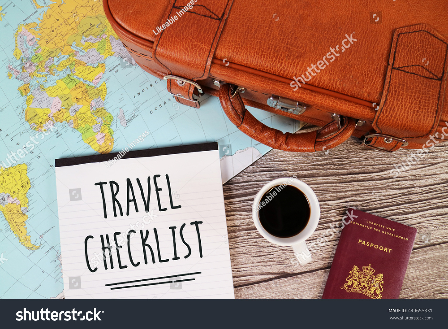 Travel checklist suitcase world map stock photo 449655331 travel checklist suitcase world map stock photo 449655331 shutterstock gumiabroncs Gallery