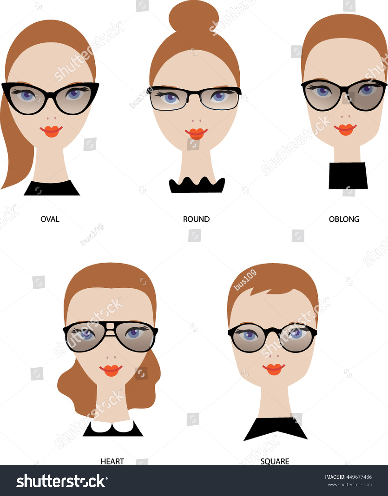 29cff28ccb Female Face Shapes Woman Glasses Types Stock Vector (Royalty Free ...