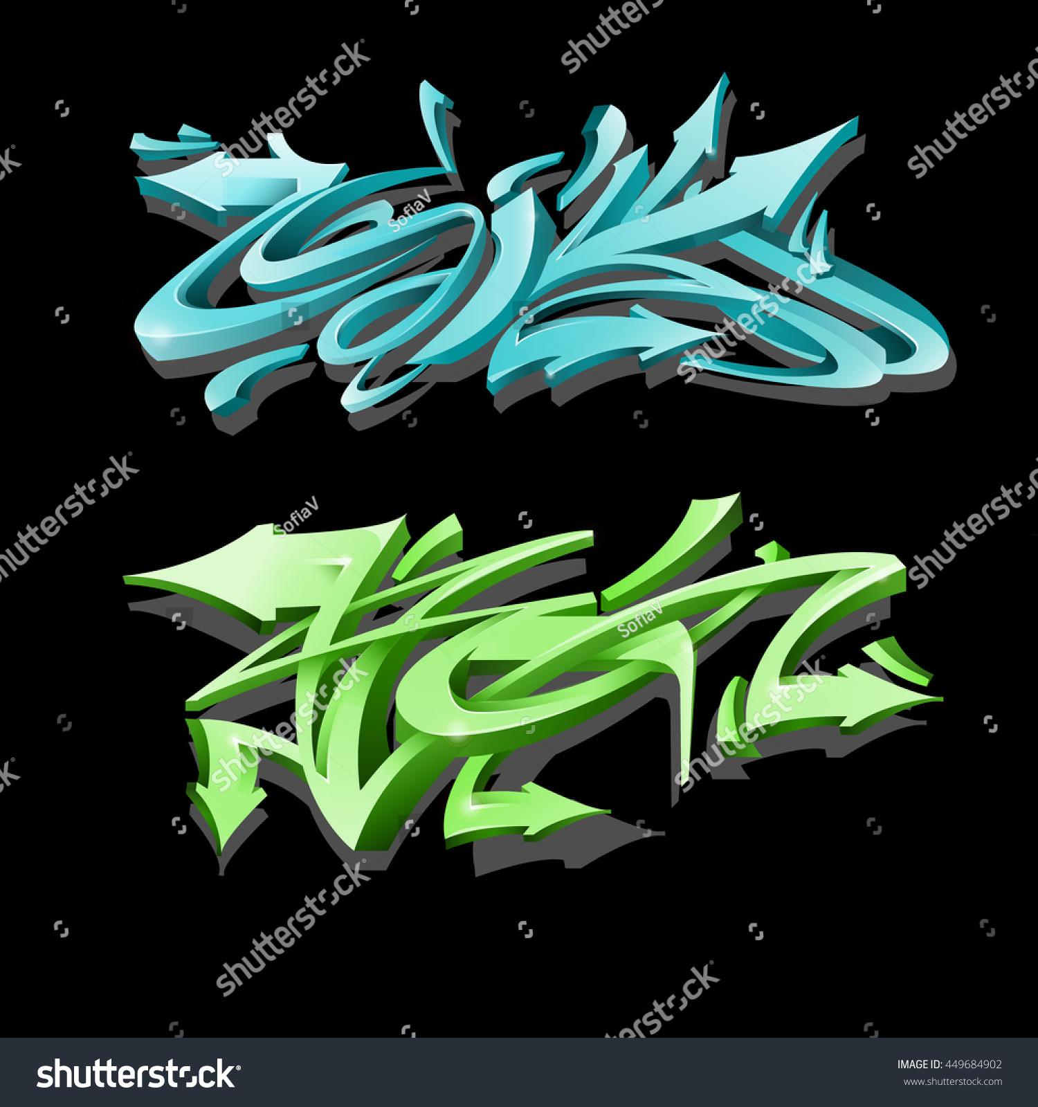 Graffiti lettering on black background street art style wild style graffiti letters vector