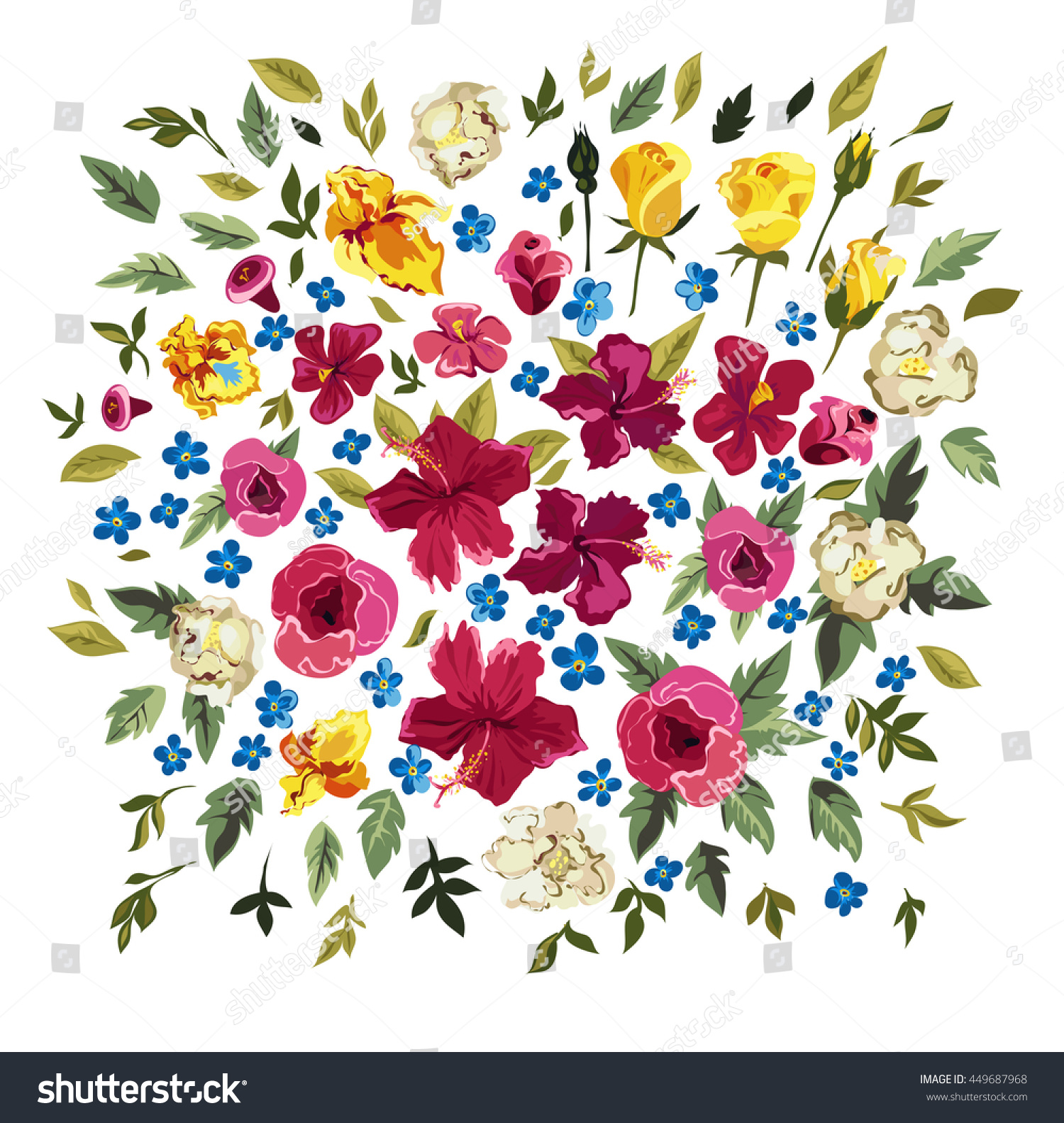 Colorful Floral Collection Leaves Flowers Design Stock Vector