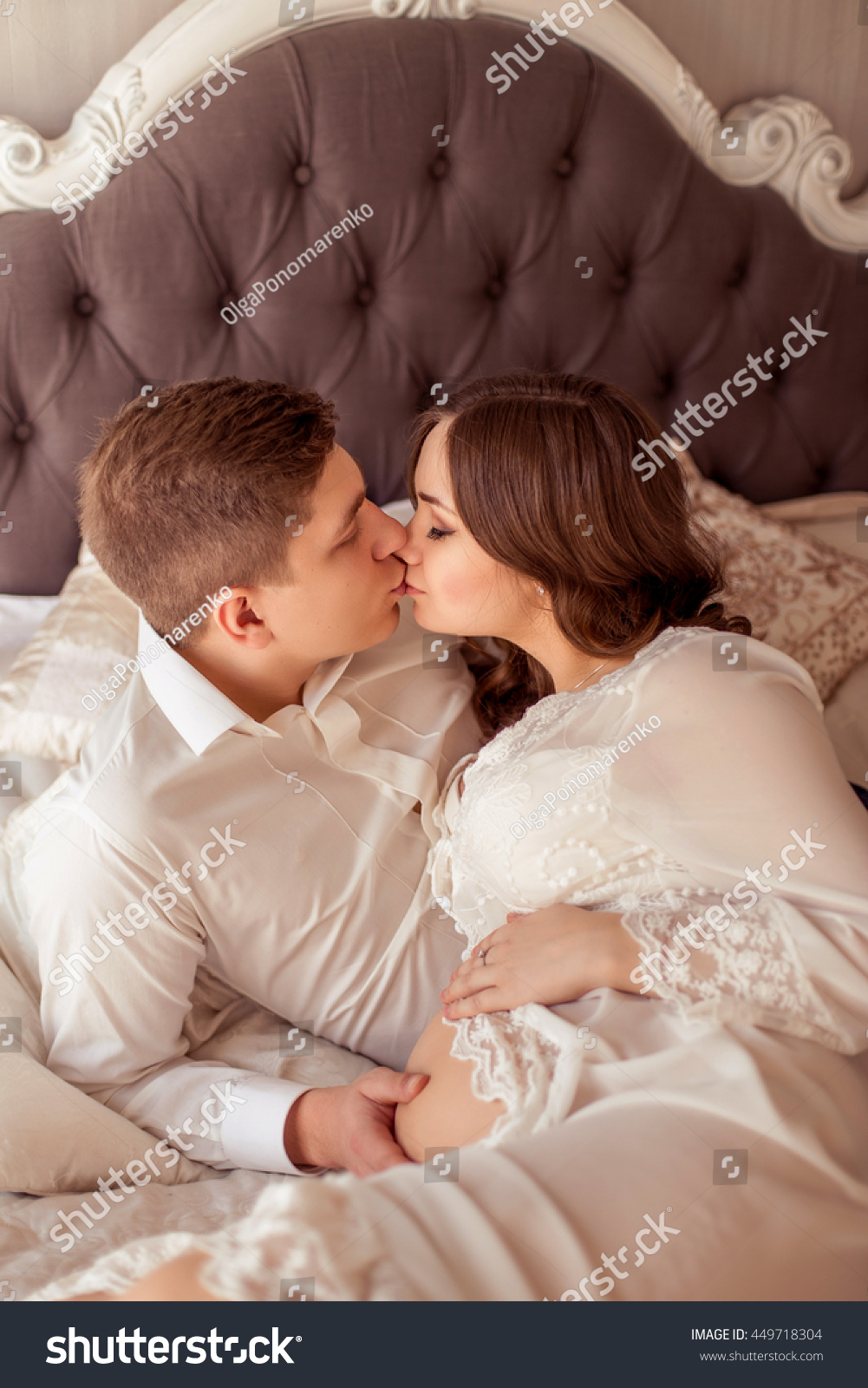 Loving Husband Gently Kissing Hugging His Stock Photo Edit Now