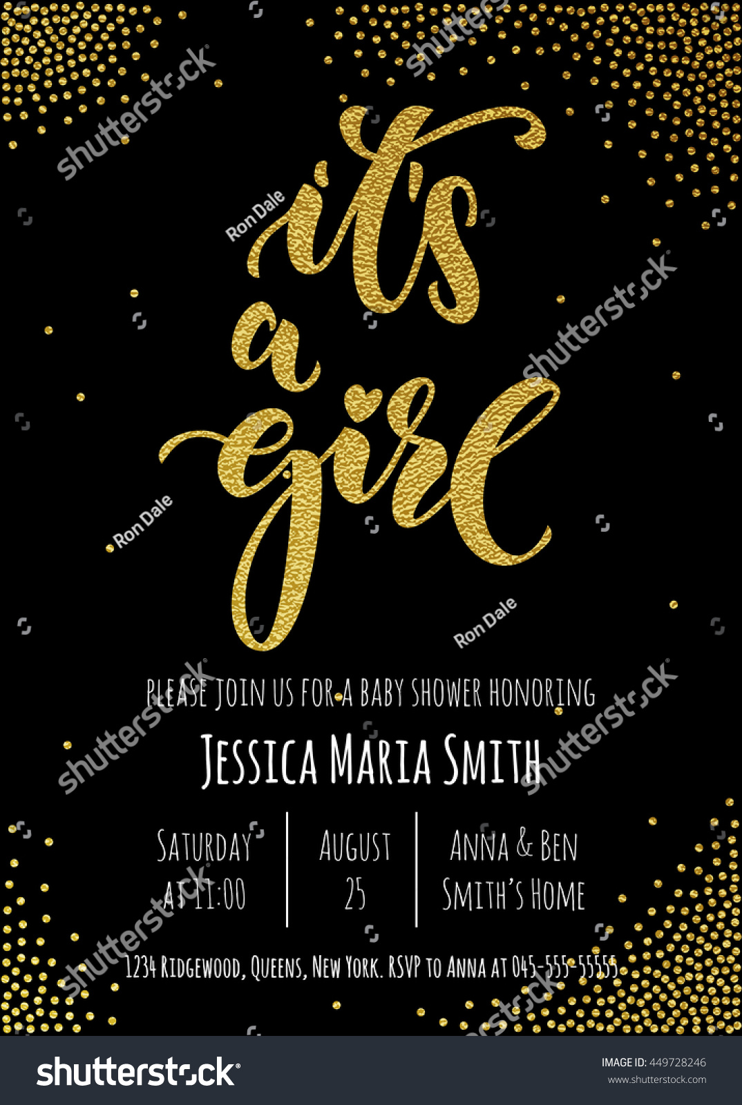 girl invitation party card template hand stock vector (royalty free