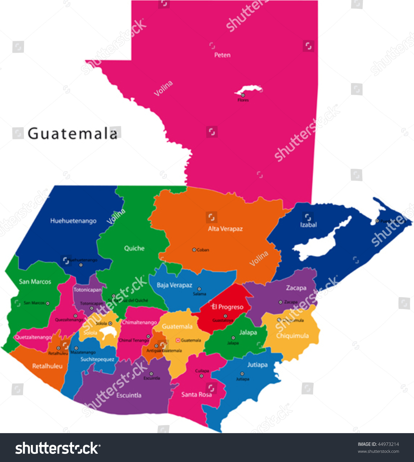 Map Republic Guatemala Departments Colored Bright Stock Vector - Departments map of guatemala