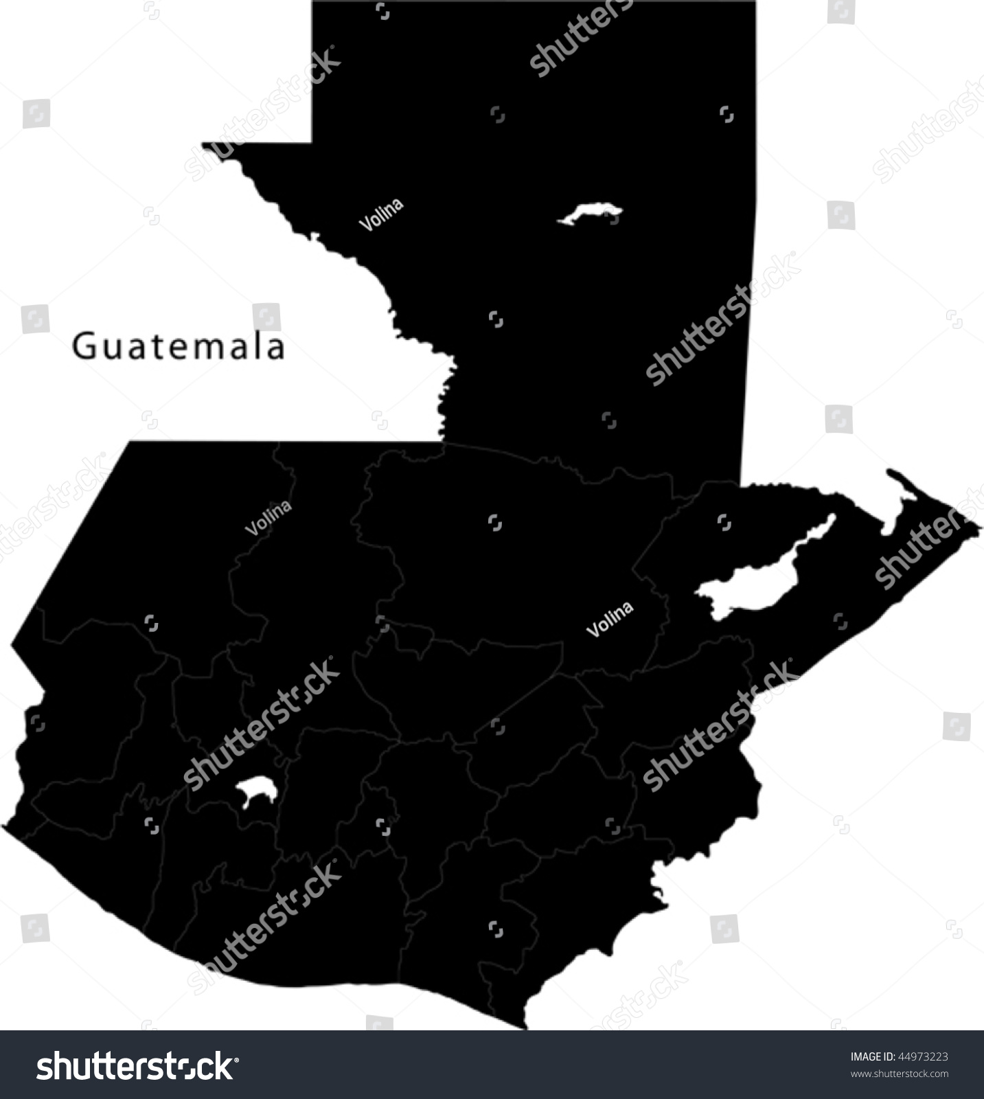 Black Guatemala Map Department Borders Stock Vector - Departments map of guatemala