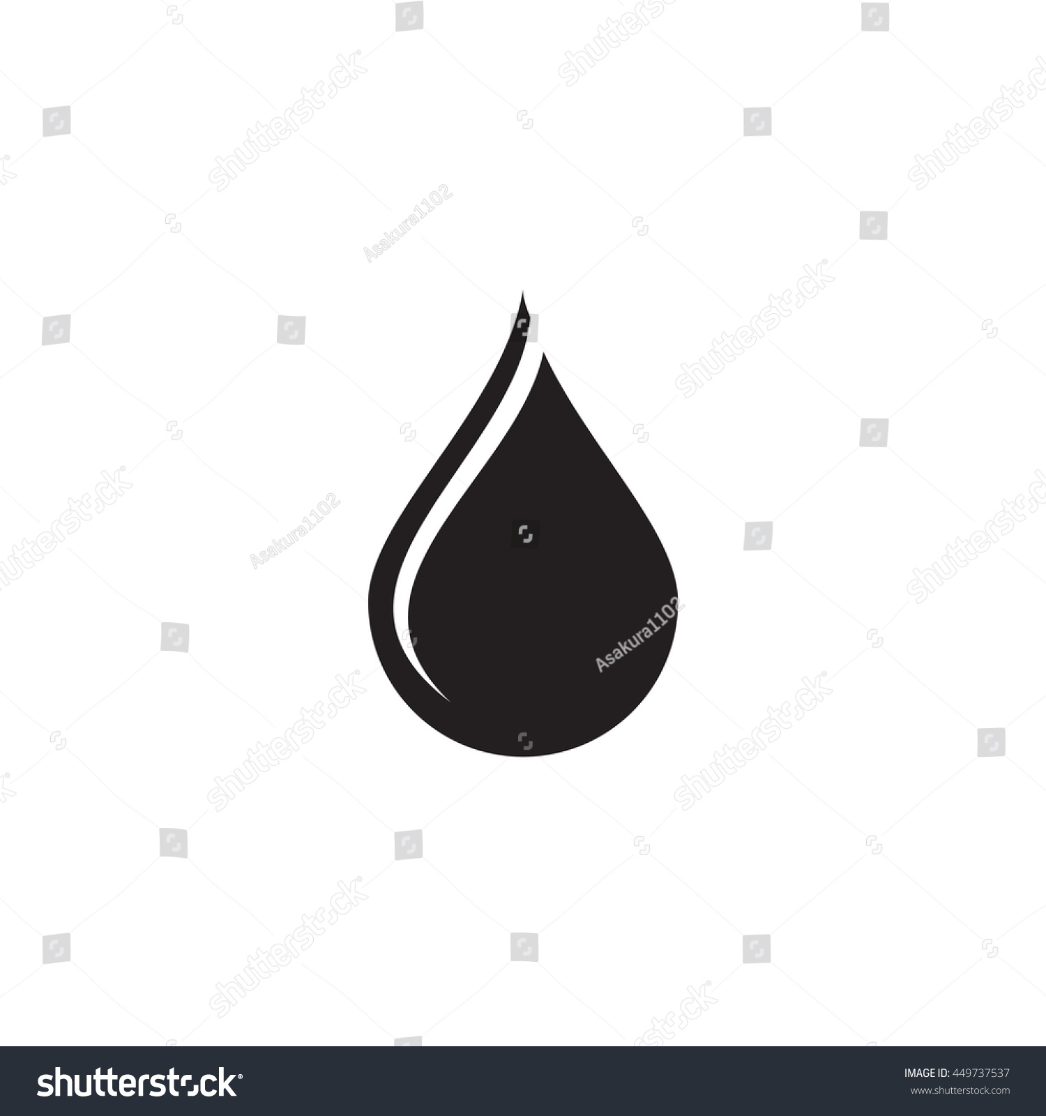 Black Water Drop Icon Stock Vector 449737537 - Shutterstock