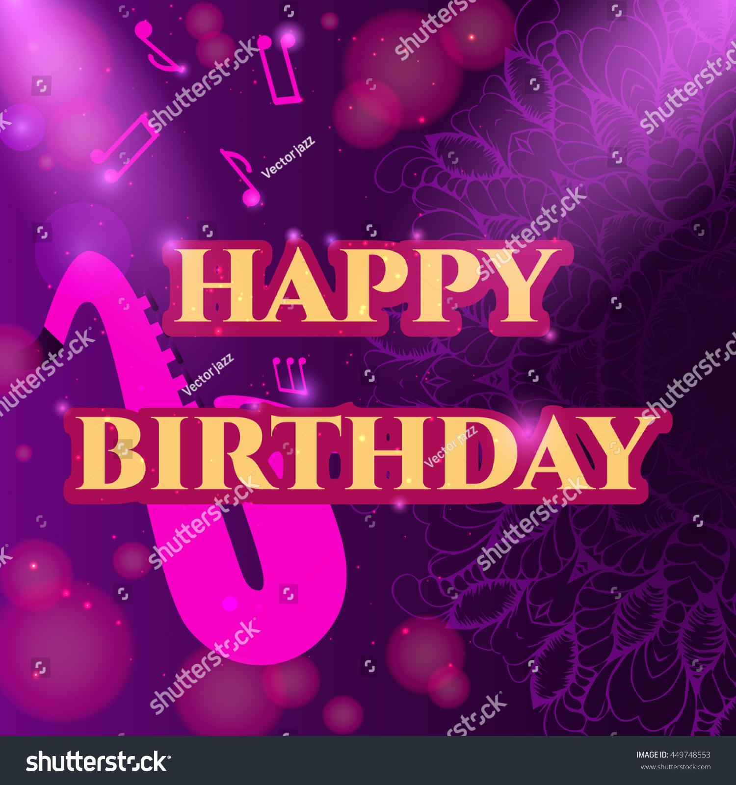 Greeting Card Happy Birthday Abstract Mandala Decorated Element Music Stylish Inscription