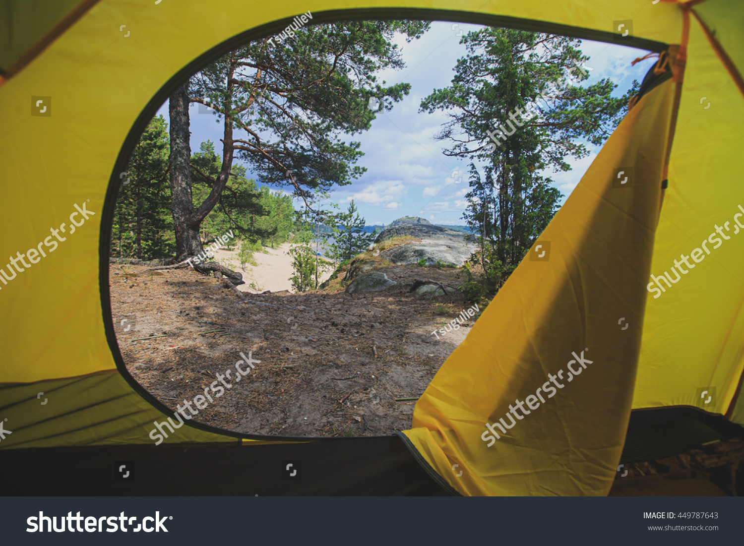 looking out door. View Looking Out Of Door Sun-filled Tent Upon Great Outdoors With Lake And