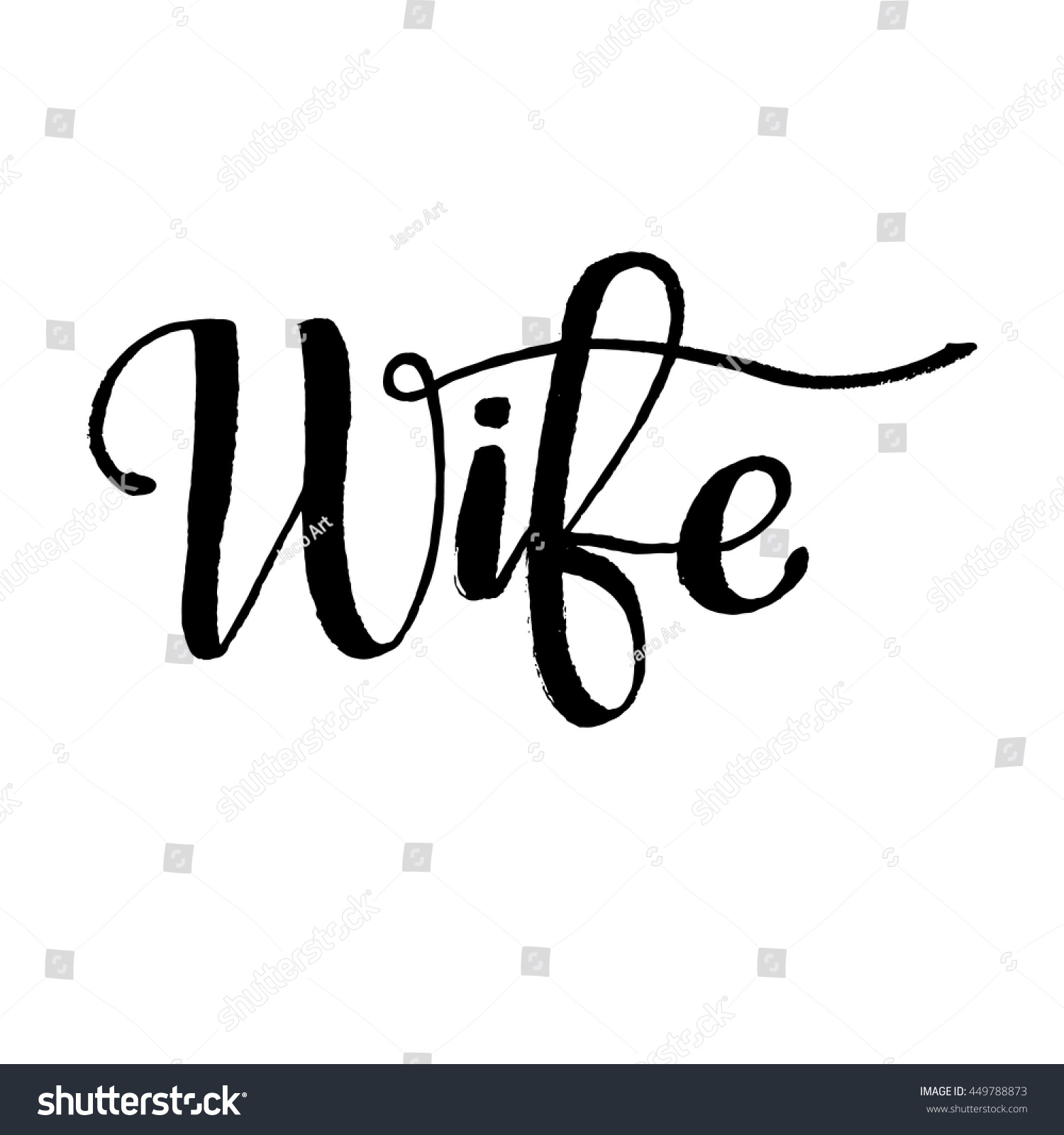Word wife lettering background ink illustration modern