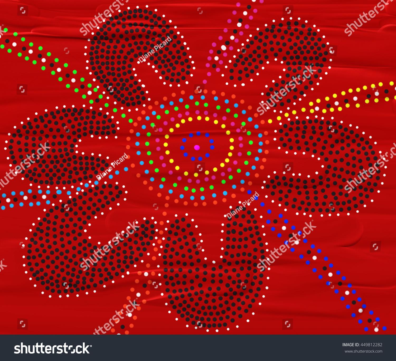 Australian Aboriginal Dot Painting Meeting Place Stock Illustration