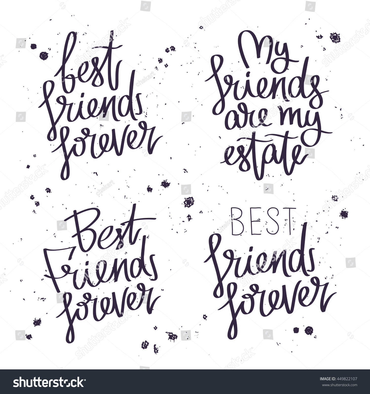 Friends Forever Quotes Best Friends Forever Trend Calligraphy Vector Stock Vector