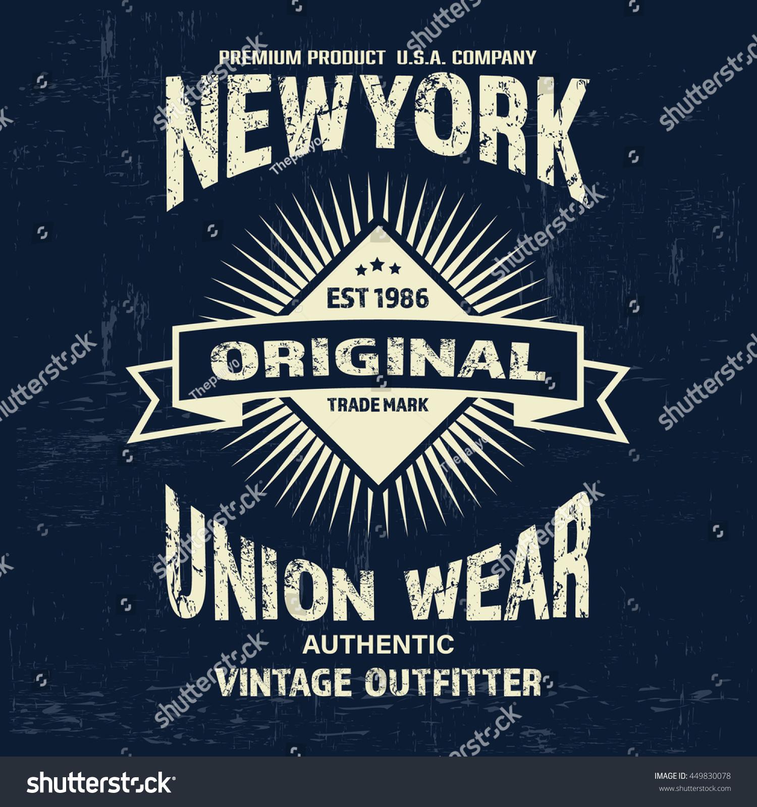Typography Vintage Denim Brand Logo Print Stock Vector