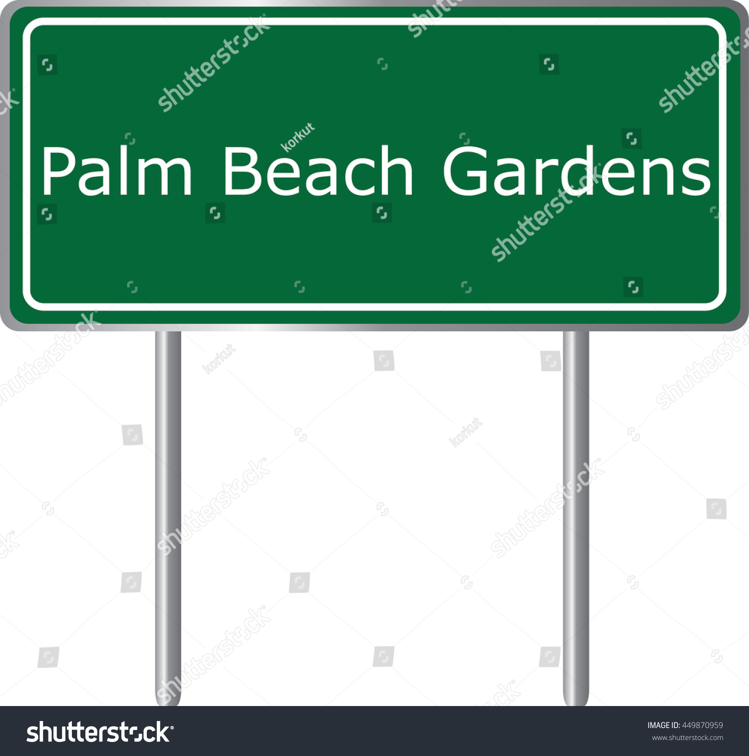 Palm Beach Gardens Florida Road Sign Stock Vector 449870959 ...