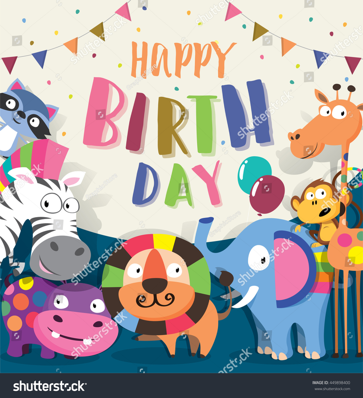 Birthday card with cute animal