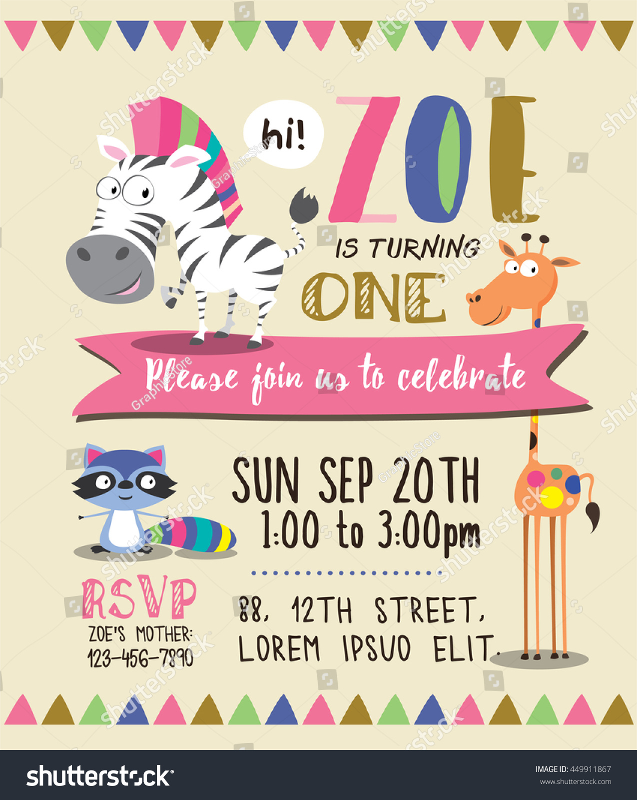 Cute animals birthday party invitation card stock vector 449911867 cute animals birthday party invitation card template filmwisefo Choice Image