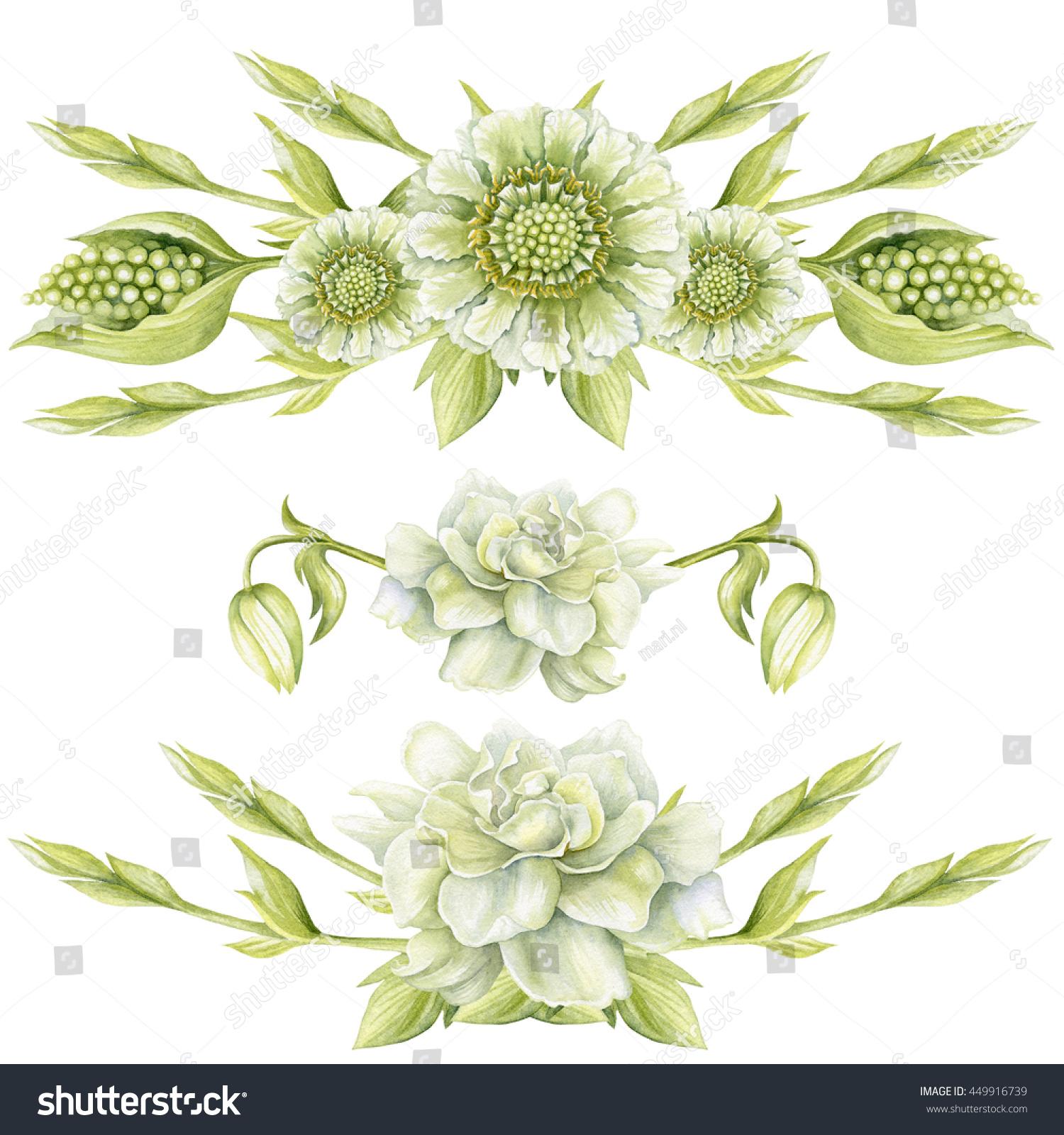 Watercolor Borders White Green Flowers Stock Illustration 449916739