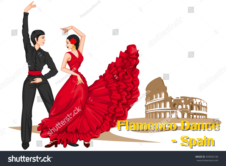 vector design spaniard couple performing flamenco stock vector