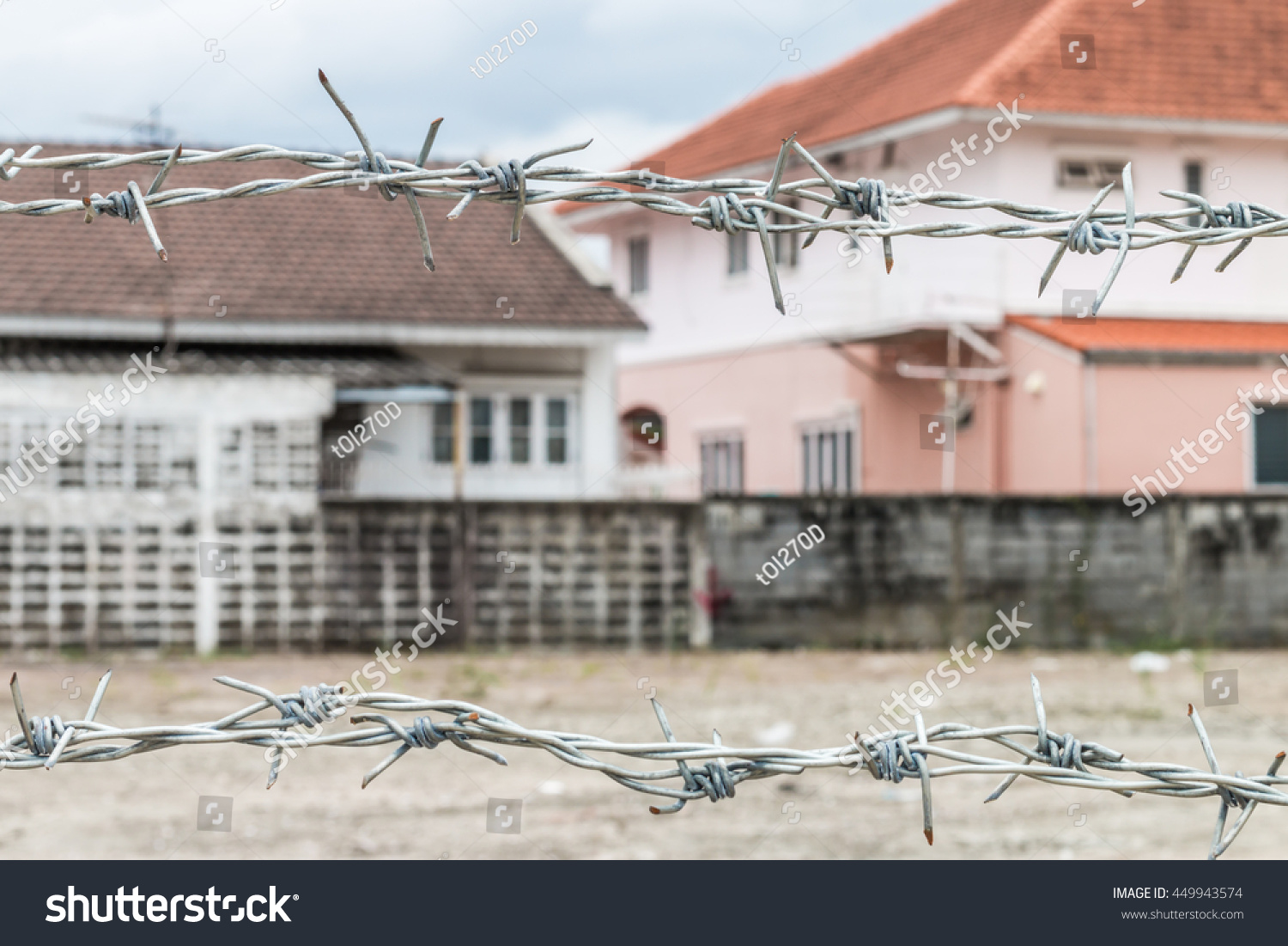 Barbed Wire Fence Protecting House Blur Stock Photo (Royalty Free ...