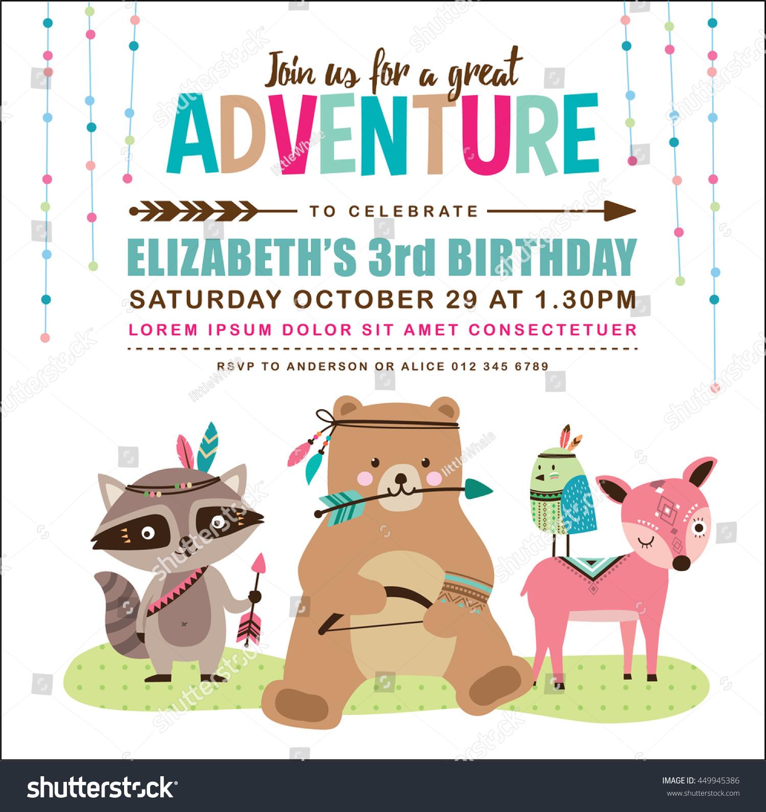 Kids Birthday Invitation Card Cute Cartoon Stock Vector 449945386 ...