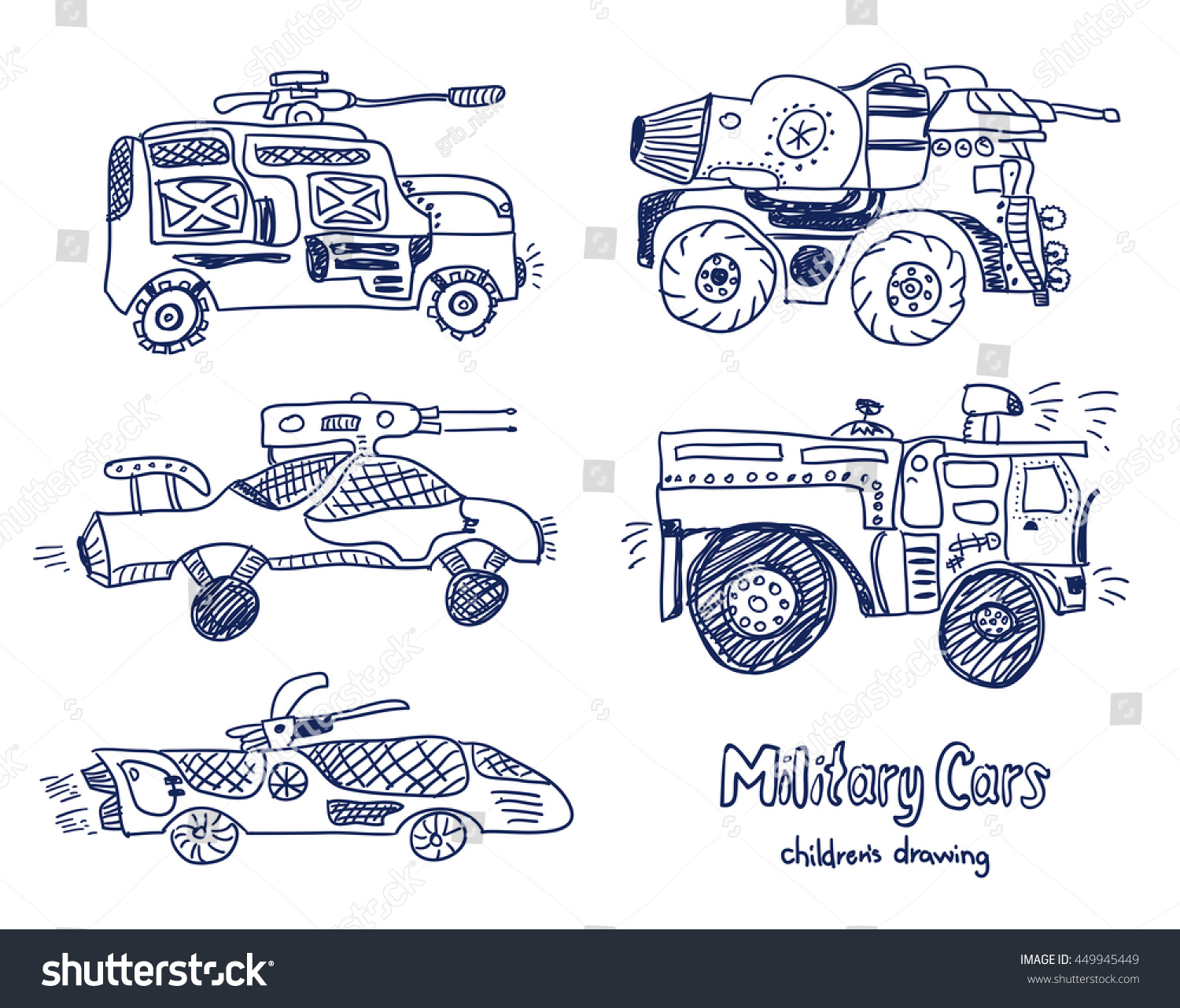 comic cartoons military cars vector set stock vector 449945449